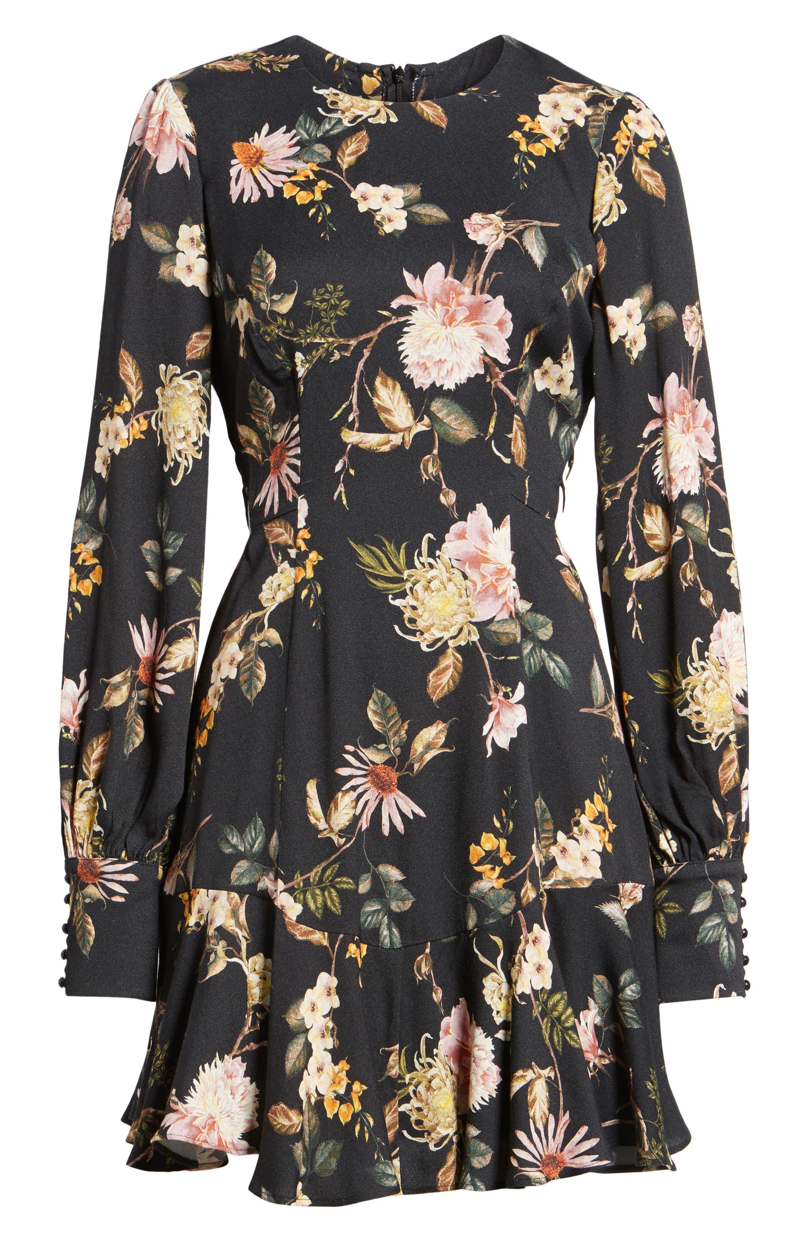 Savanna Lattice Back Fit & Flare Dress,                             Alternate thumbnail 6, color,                             Noir Floral