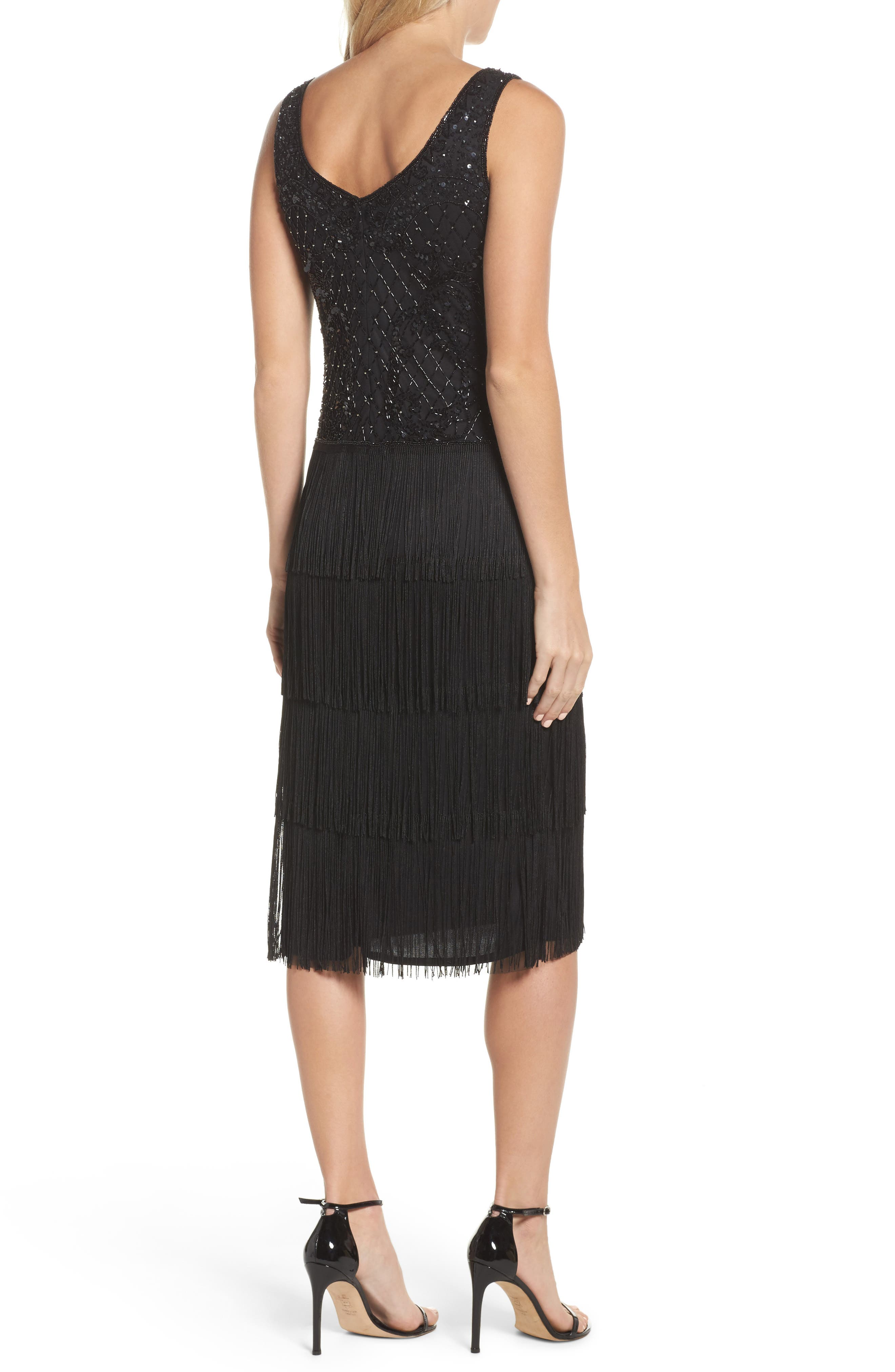 Embellished Fringe Tiered Sheath Dress,                             Alternate thumbnail 2, color,                             Black