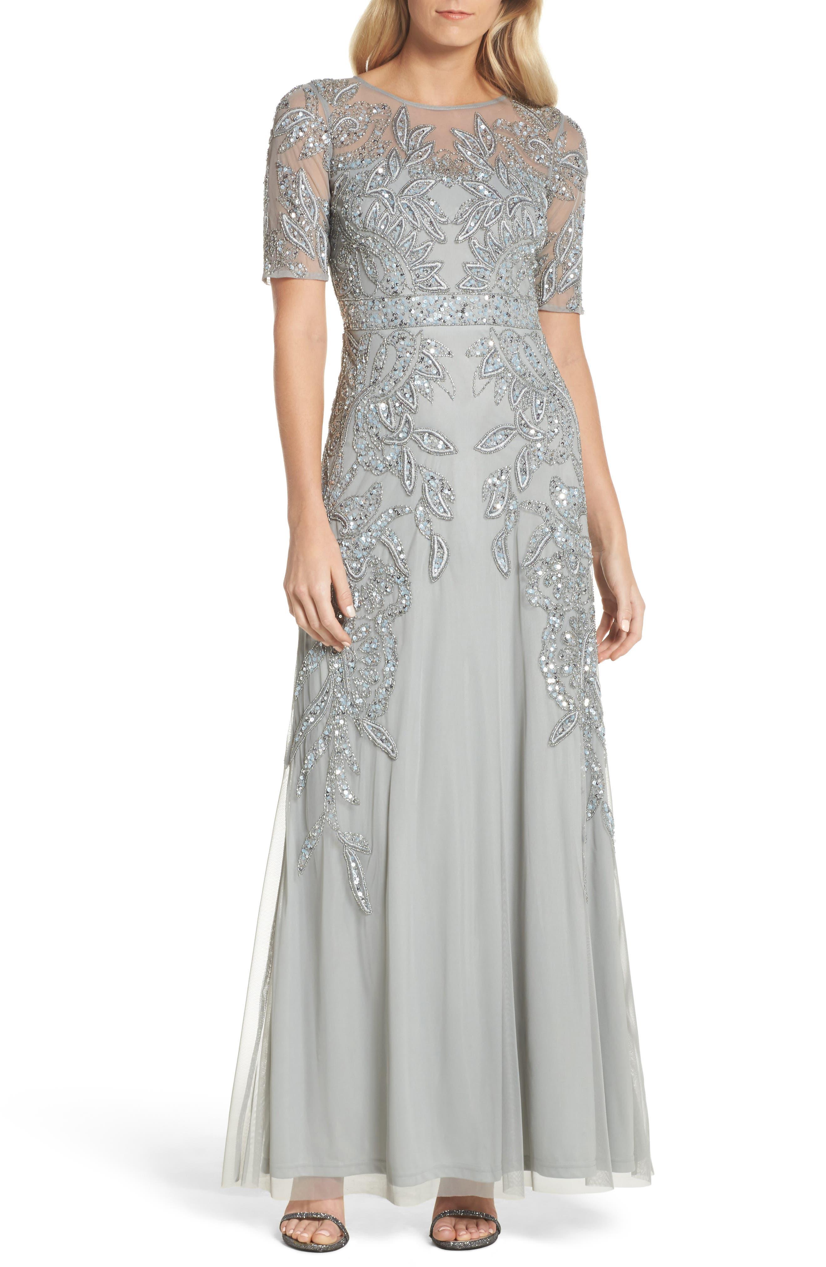 Embellished Mesh Gown,                         Main,                         color, Blue Mist
