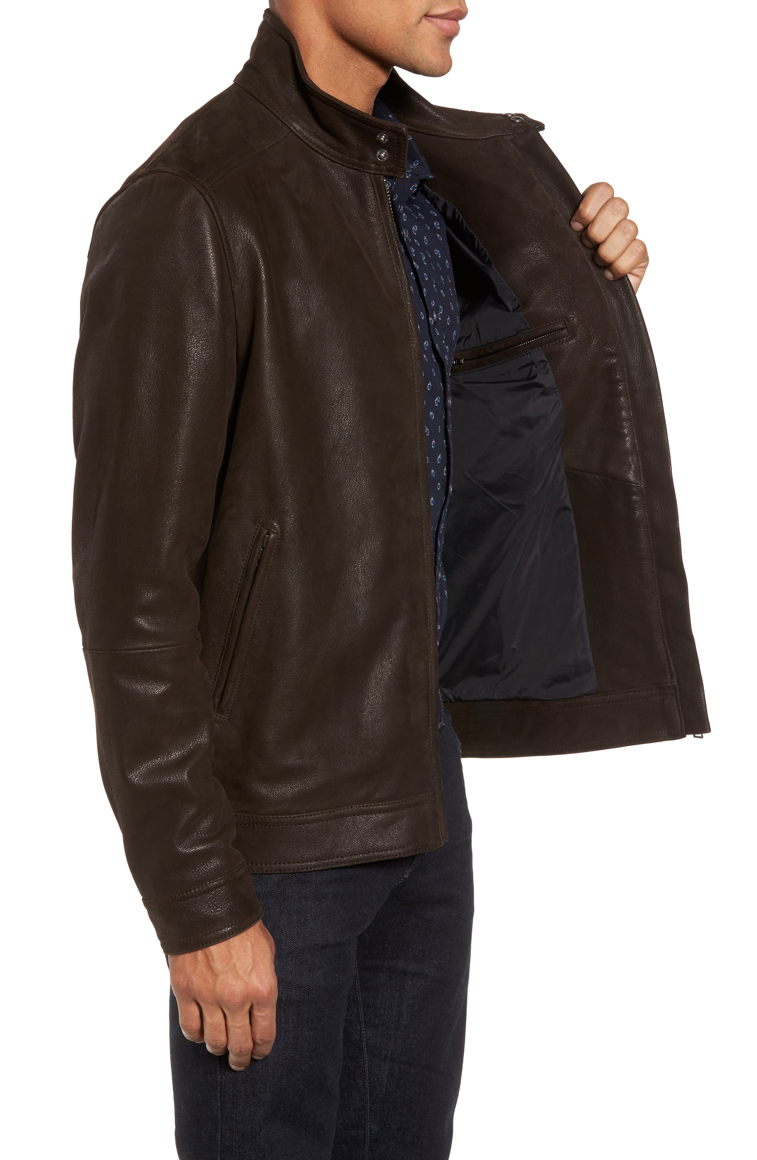Westhaven Distressed Leather Bomber Jacket,                             Alternate thumbnail 3, color,                             Chocolate