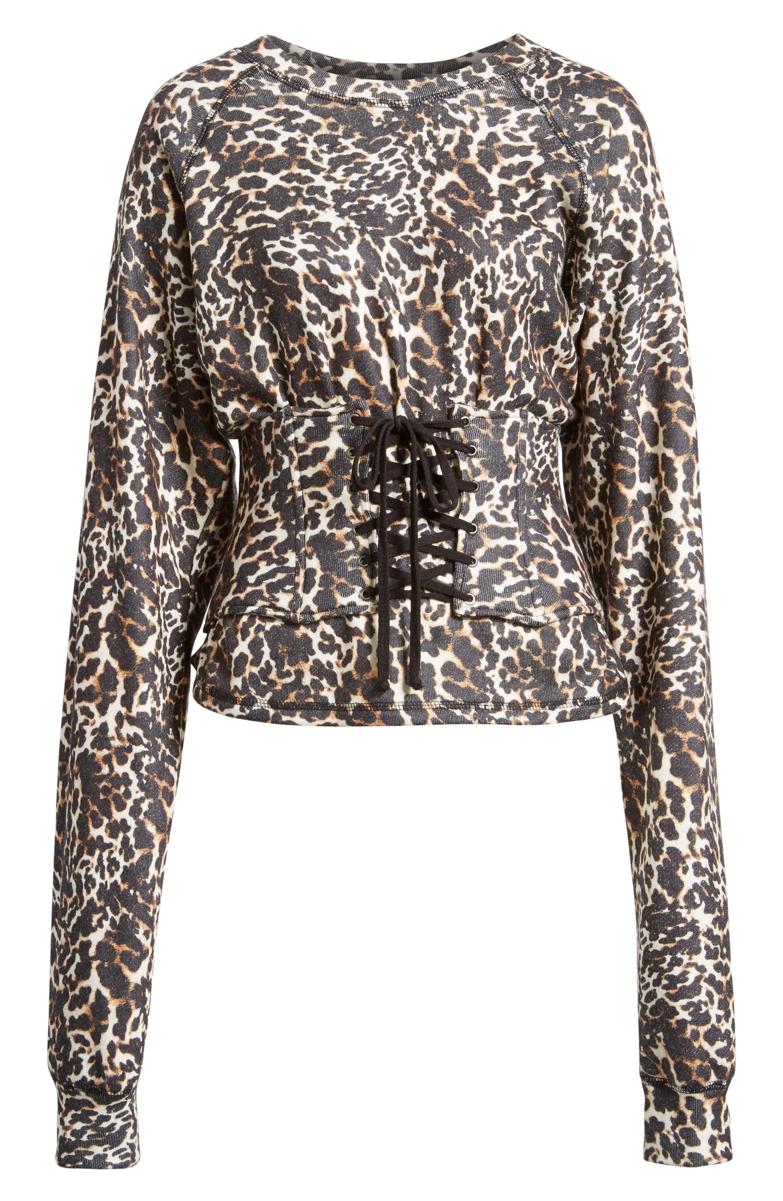 Mason Corset Sweatshirt,                             Alternate thumbnail 6, color,                             Leopard