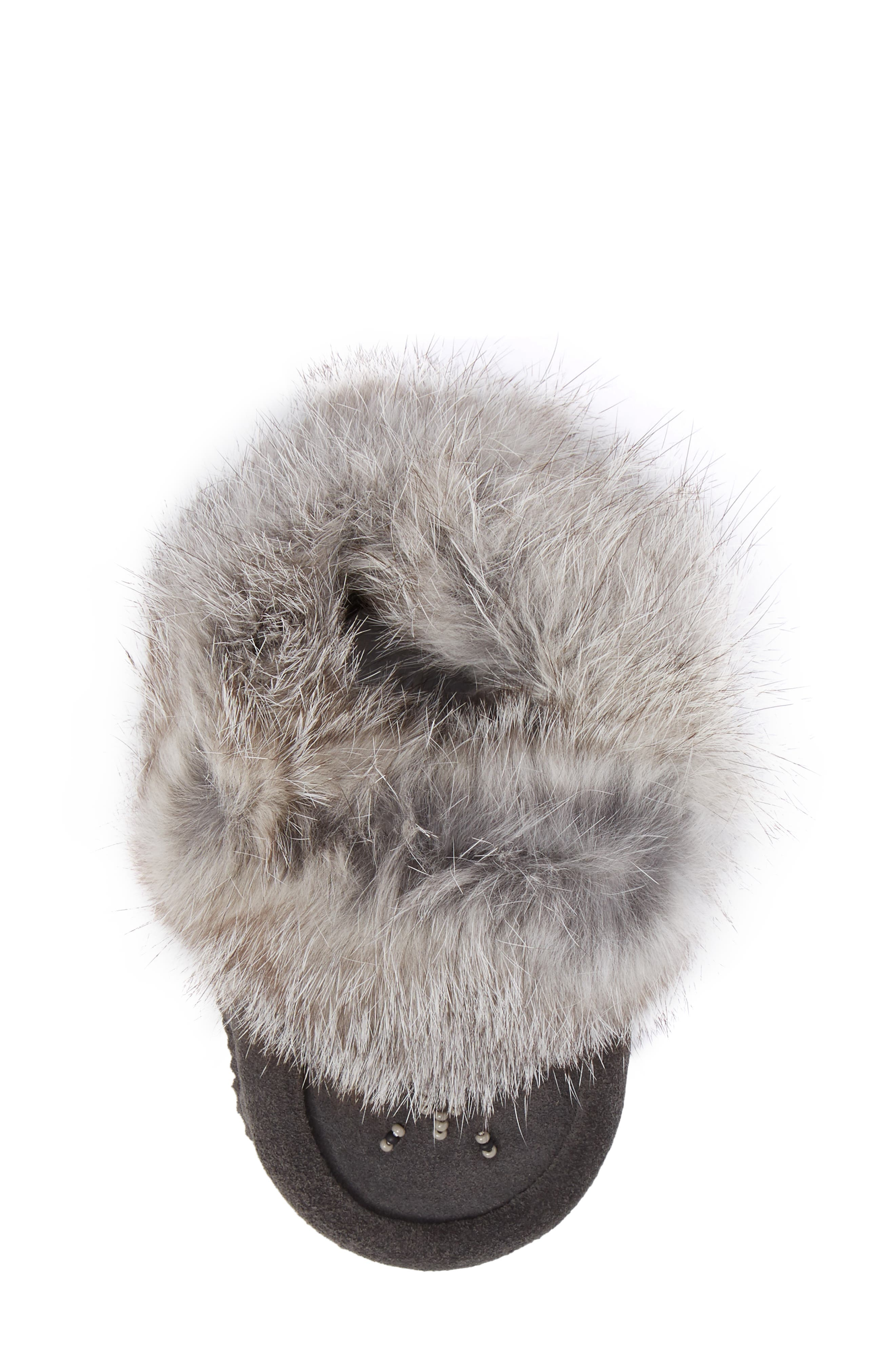 Genuine Rabbit Fur Moccasin,                             Alternate thumbnail 5, color,                             Charcoal