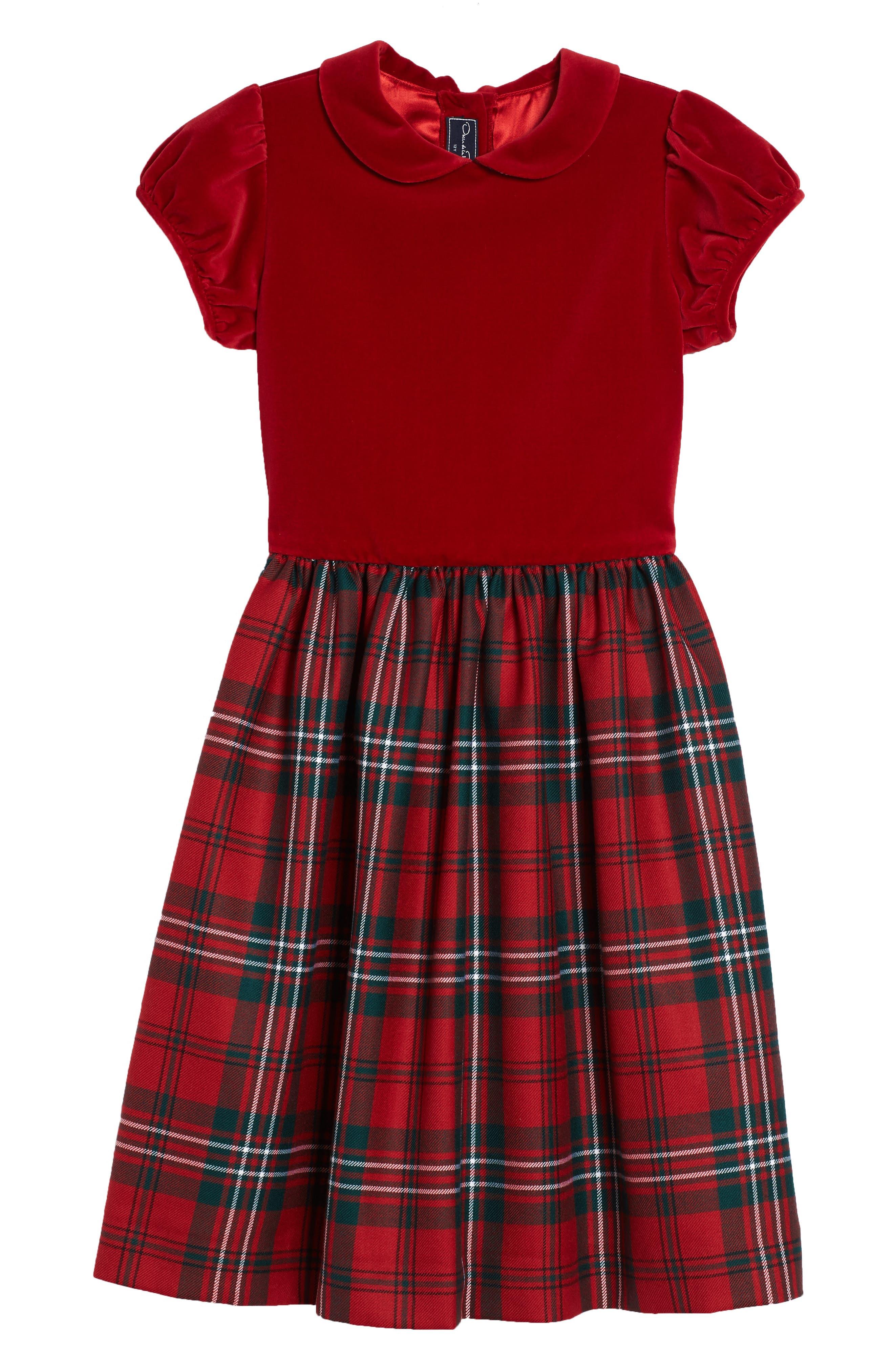 Oscar de la Renta Holiday Plaid Dress (Toddler Girls, Little Girls & Big Girls)