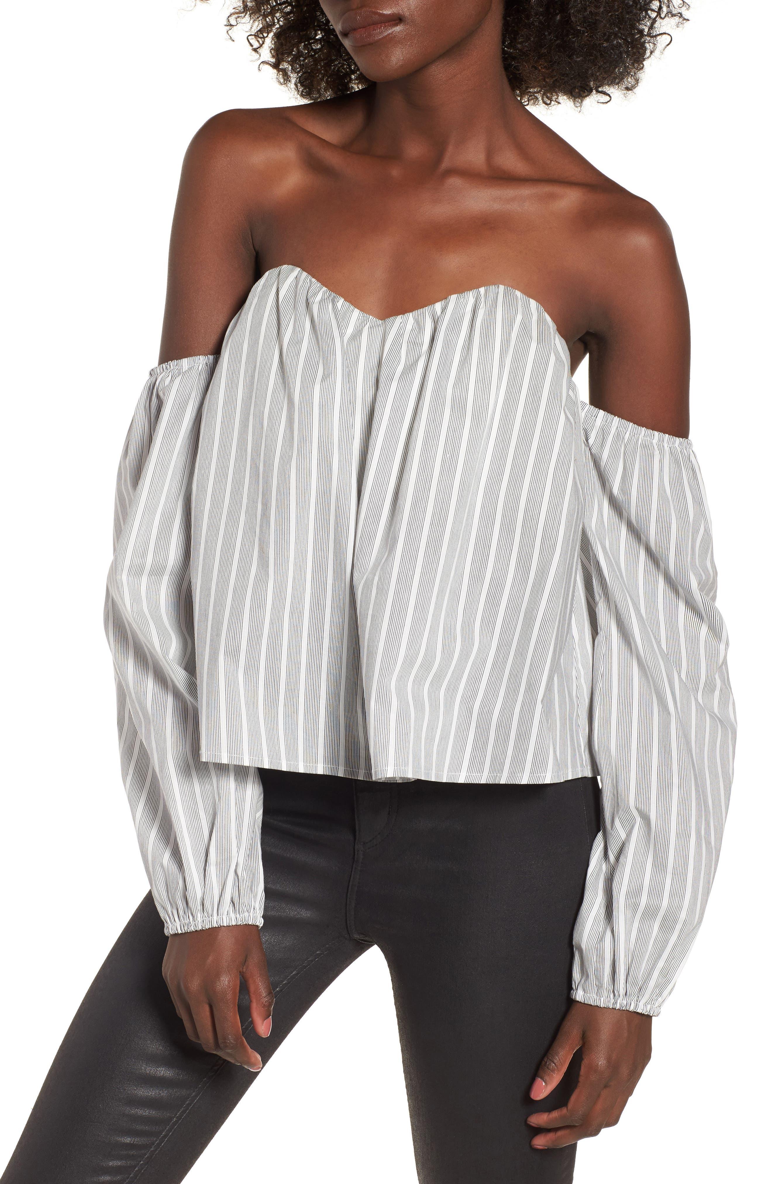 Off the Shoulder Top,                             Main thumbnail 1, color,                             Black/ White Stripe