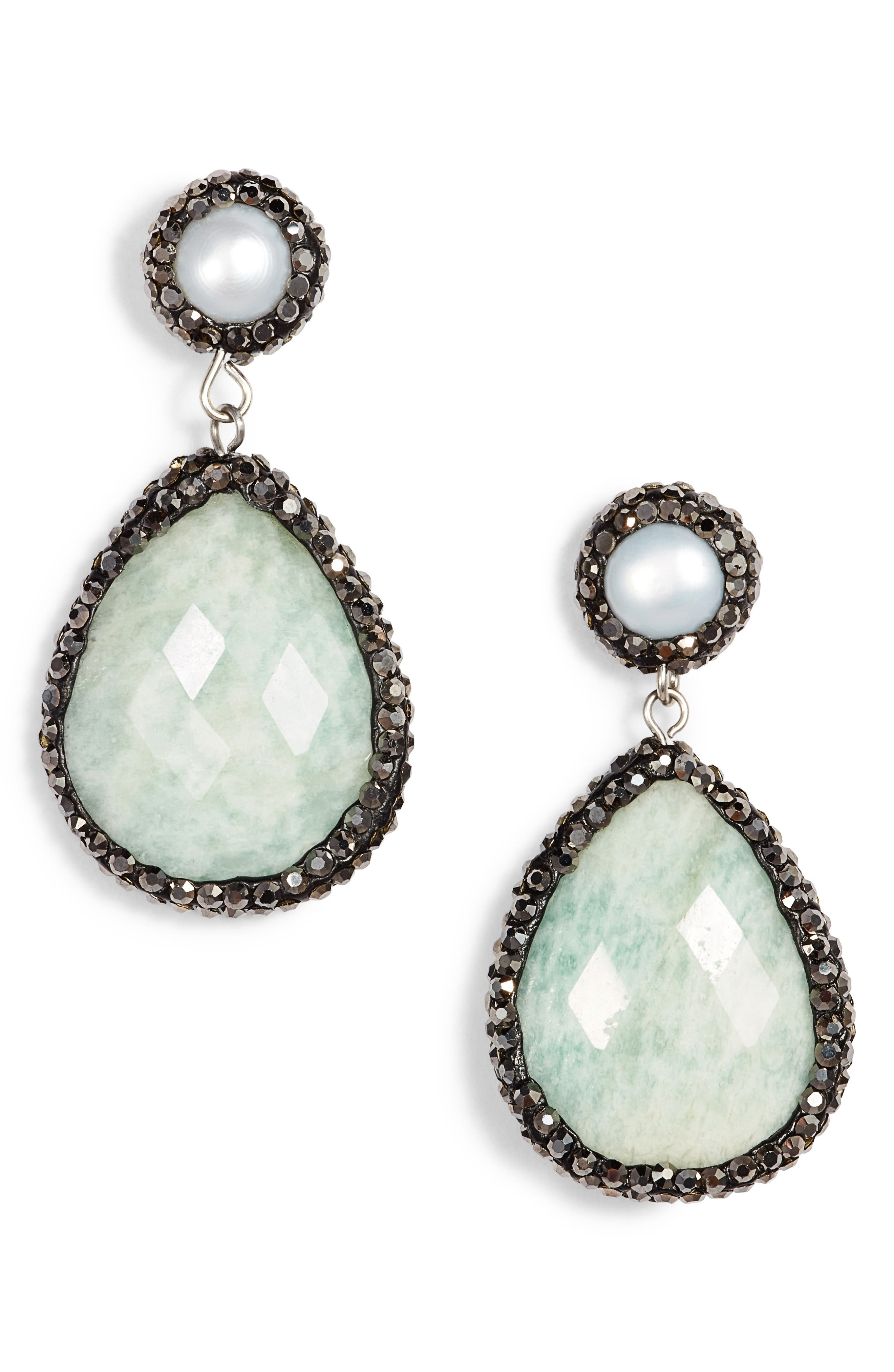 Saintes Semiprecious Drop Earrings,                         Main,                         color, Light Green Agate/ Pearl