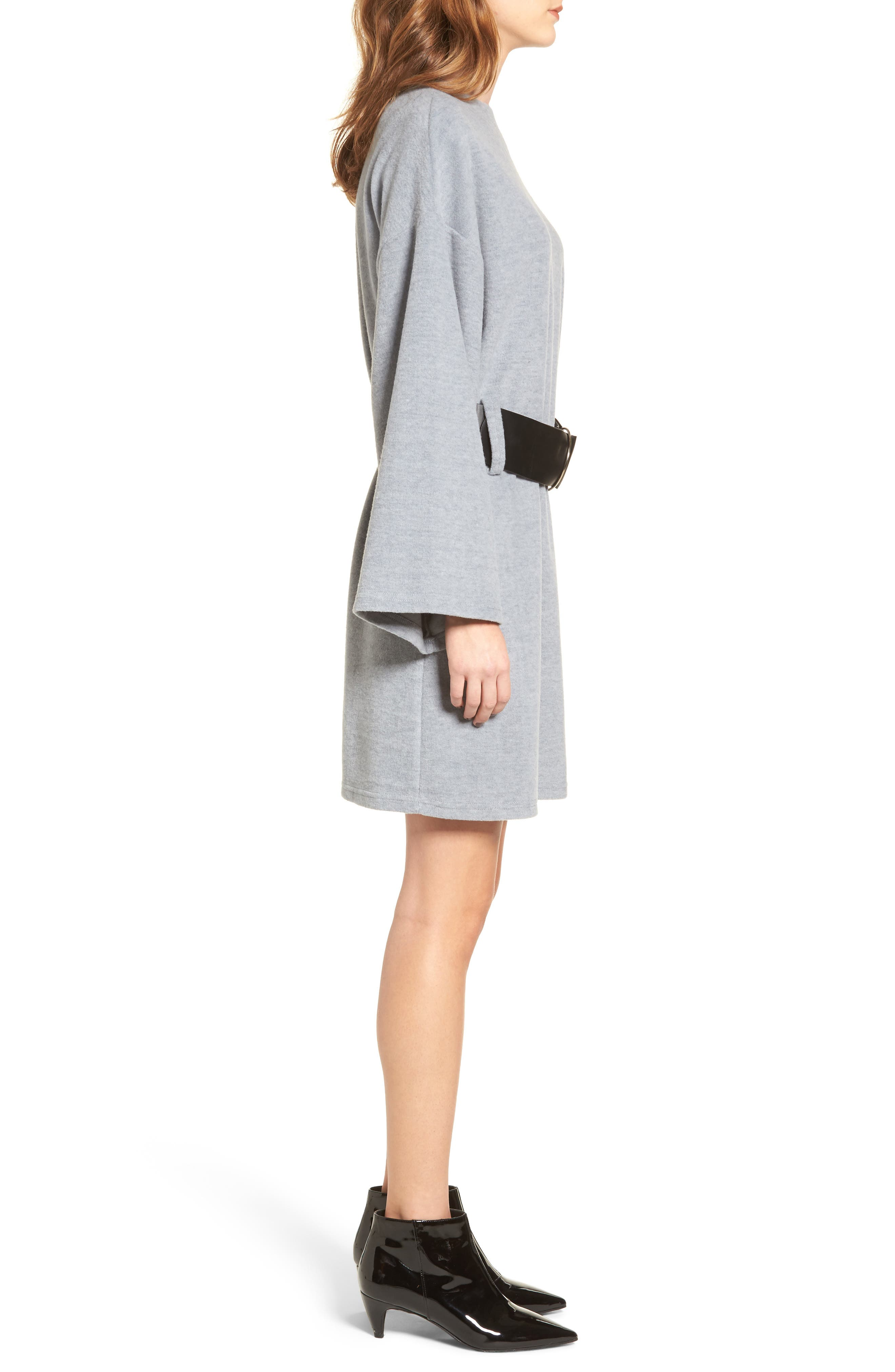Belted Bell Sleeve Sweater Dress,                             Alternate thumbnail 3, color,                             Grey