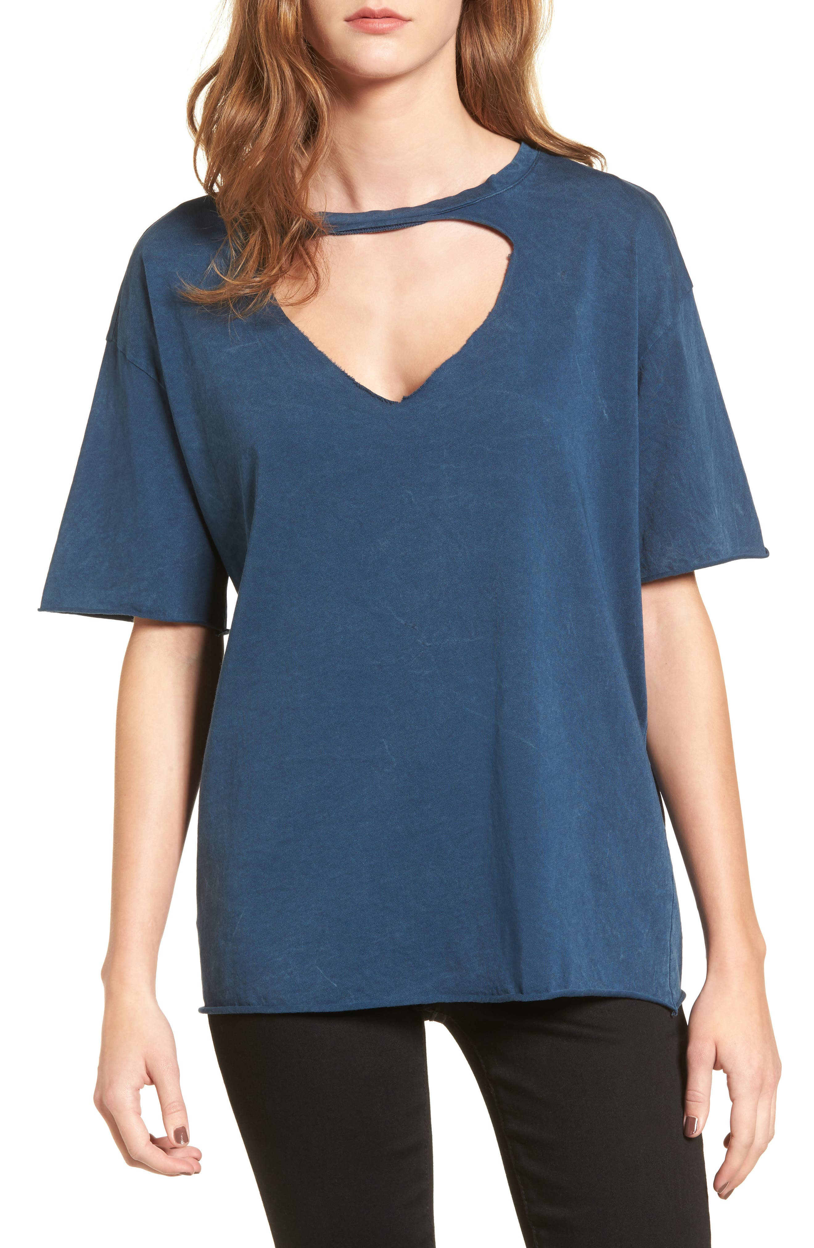 Front Cutout Tee,                         Main,                         color, Teal