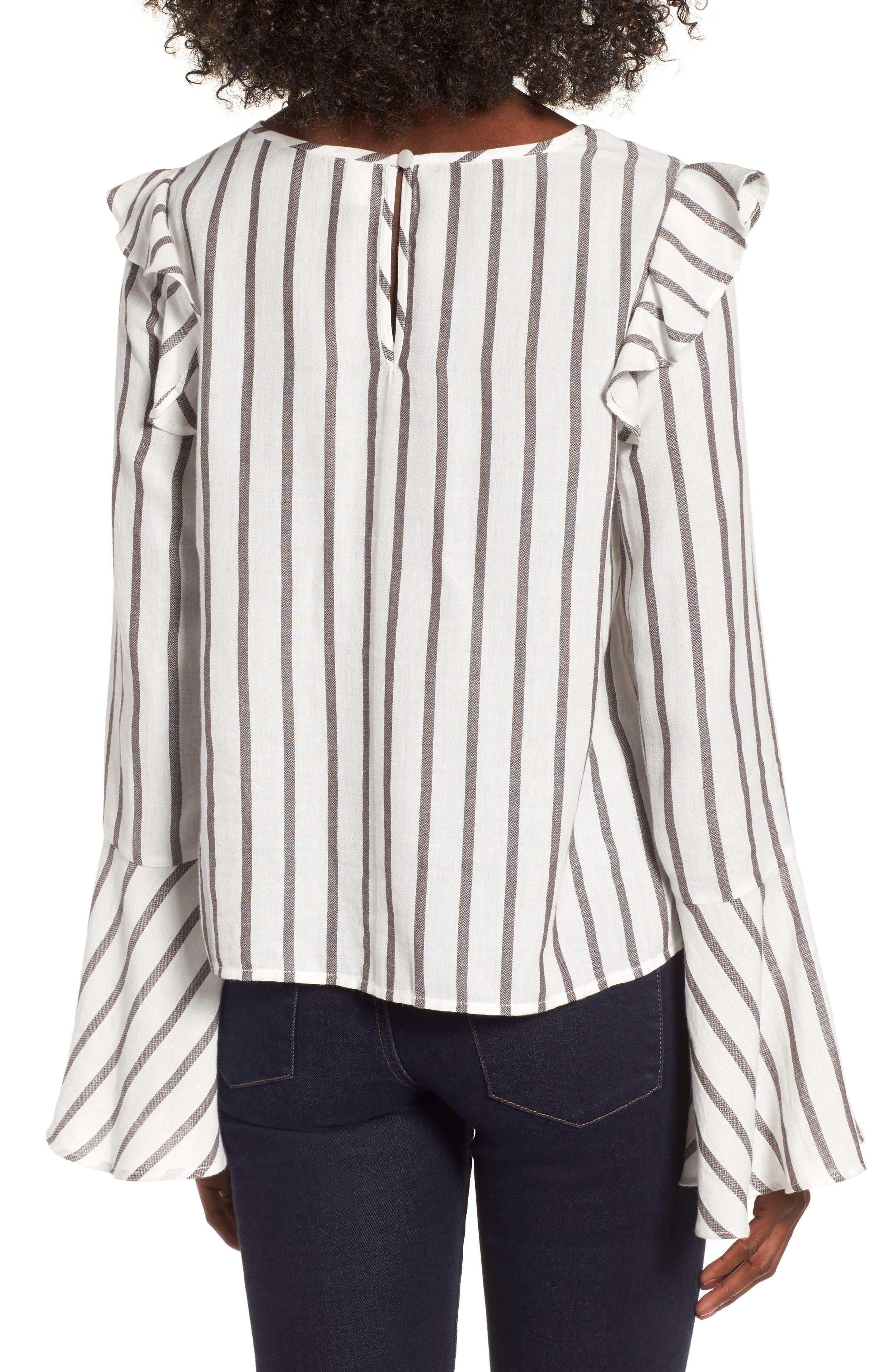 Ruffle Shoulder Flare Cuff Shirt,                             Alternate thumbnail 2, color,                             Ivory Egret Emmy Stripe