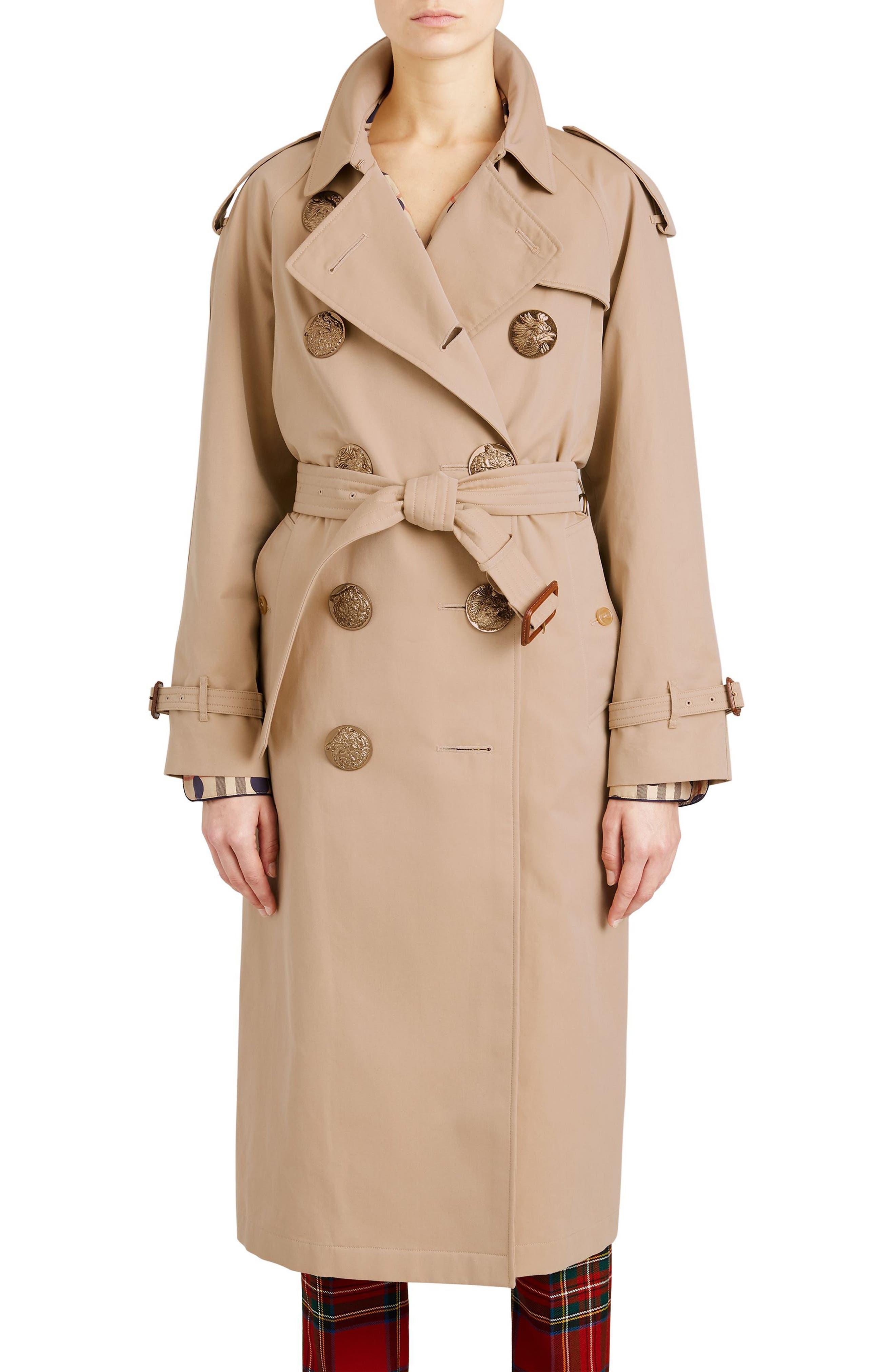 Eastheath Bird Button Cotton Trench Coat,                             Main thumbnail 1, color,                             Honey