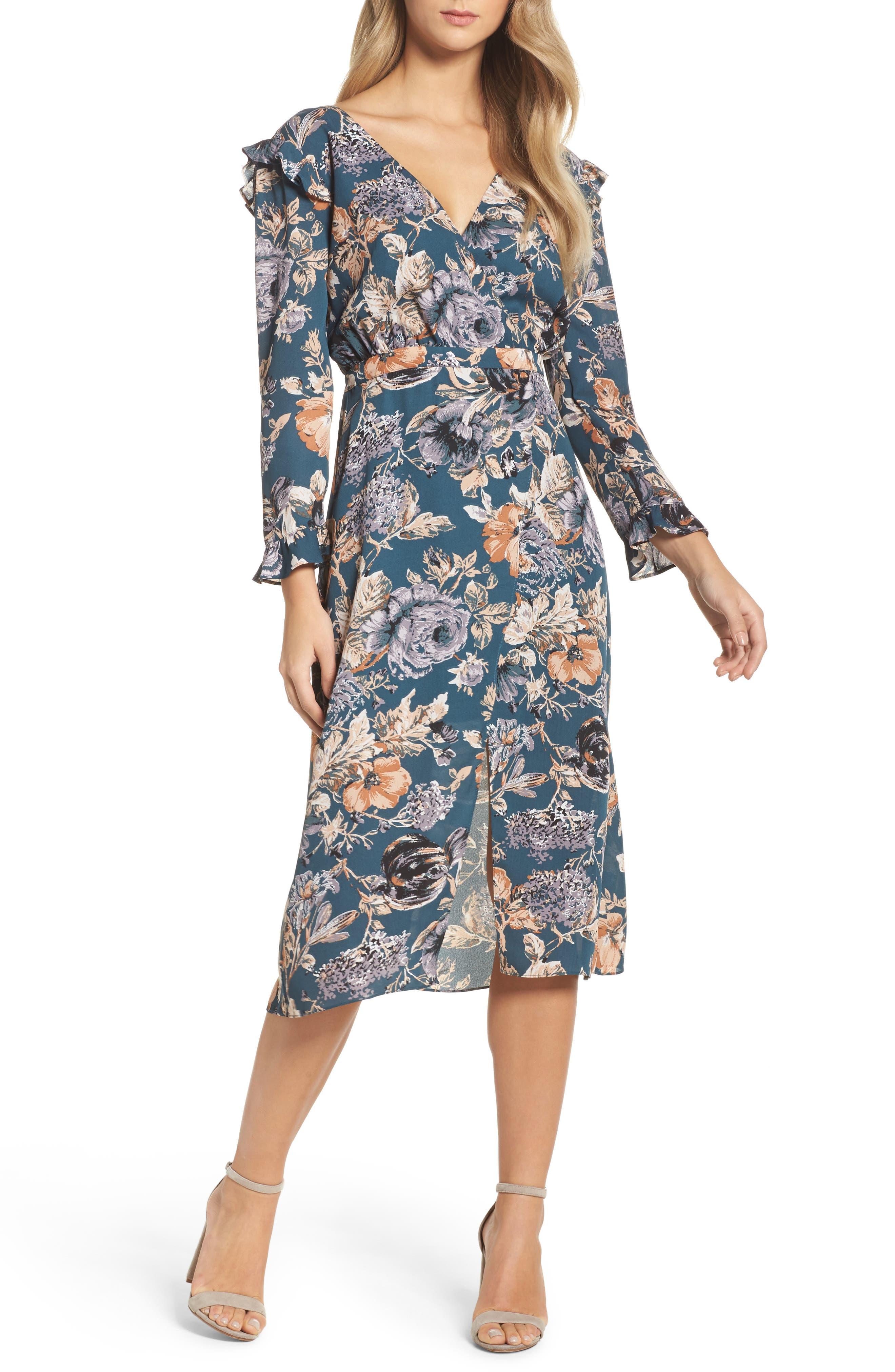 Je T'aime Midi Dress,                             Main thumbnail 1, color,                             Spruce Floral