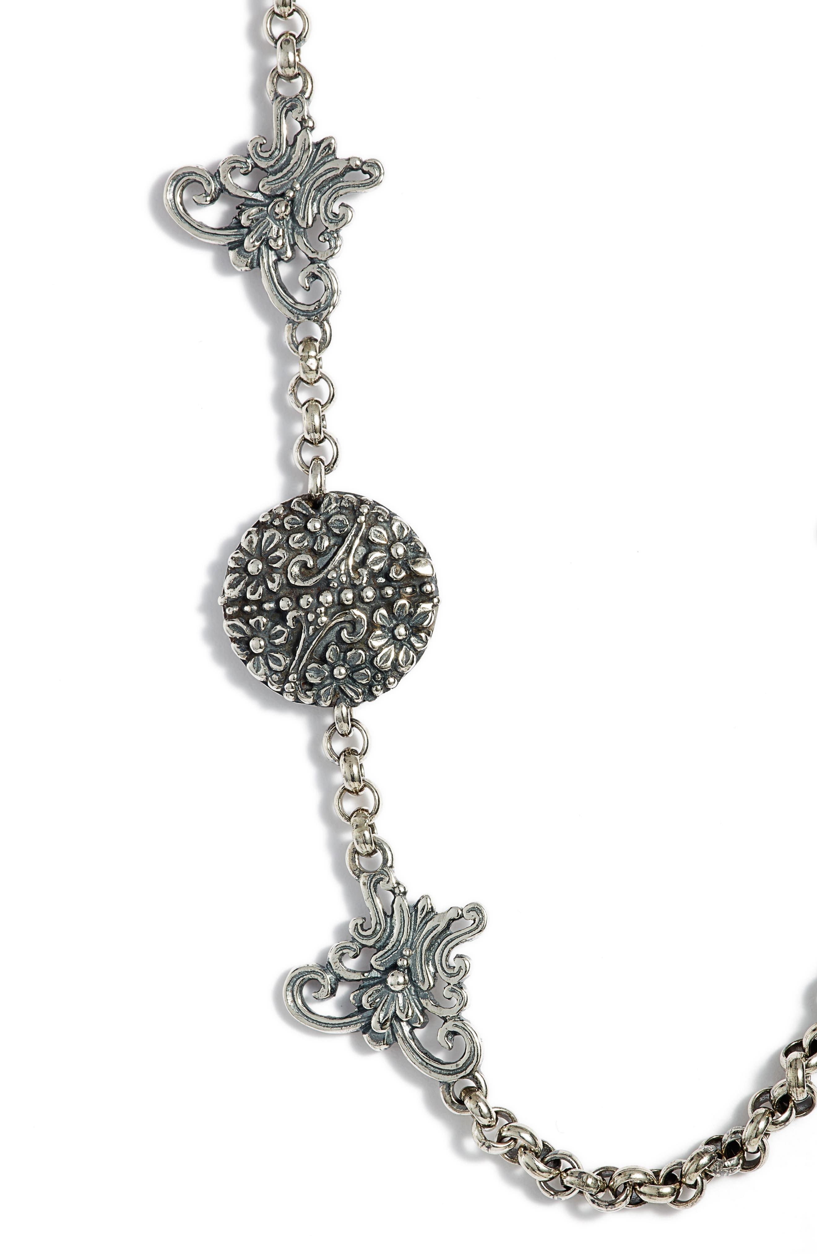 Santorini Butterfly Collar Necklace,                             Alternate thumbnail 2, color,                             Silver/ Hematite