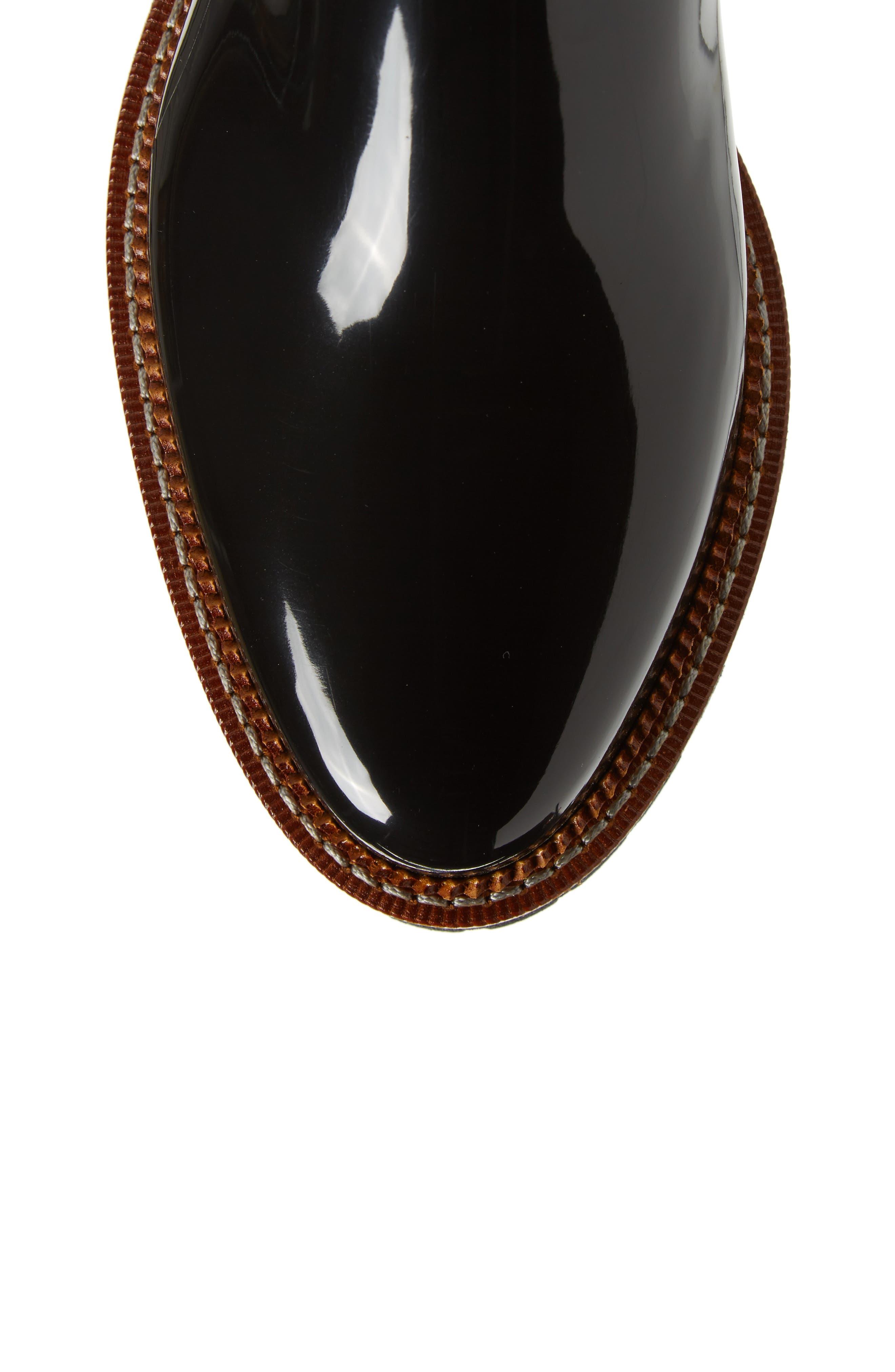 April Waterproof Chelsea Boot,                             Alternate thumbnail 5, color,                             Black Gloss