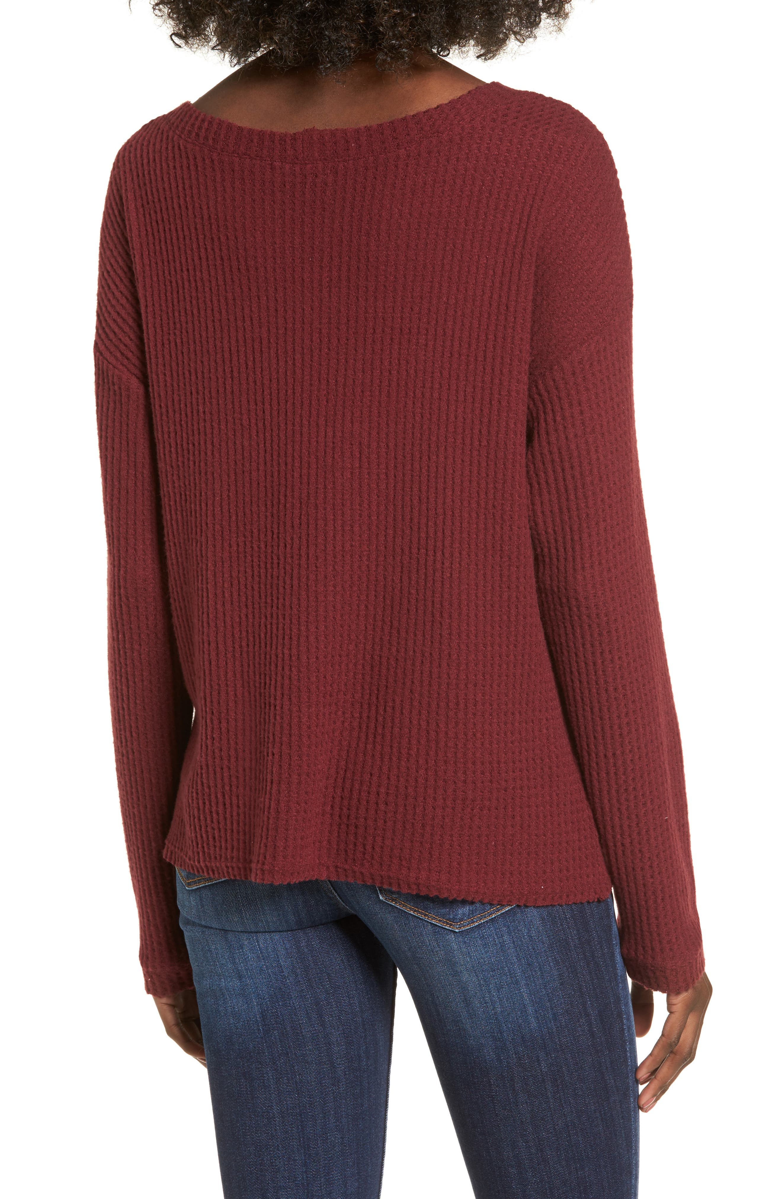 Waffle Knit Top,                             Alternate thumbnail 2, color,                             Red Cordov
