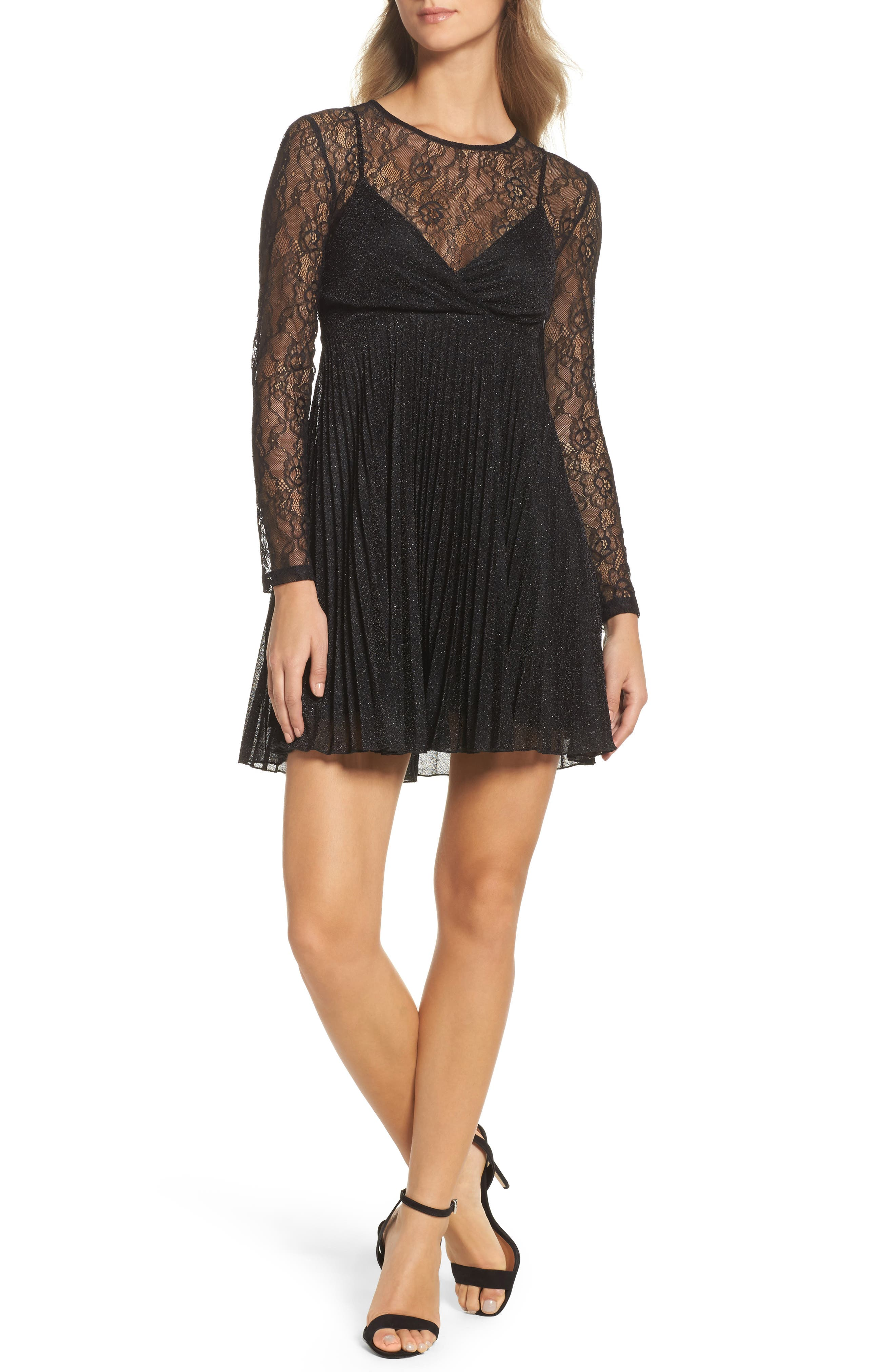 Alternate Image 1 Selected - NSR Chantilly Lace Pleated Dress