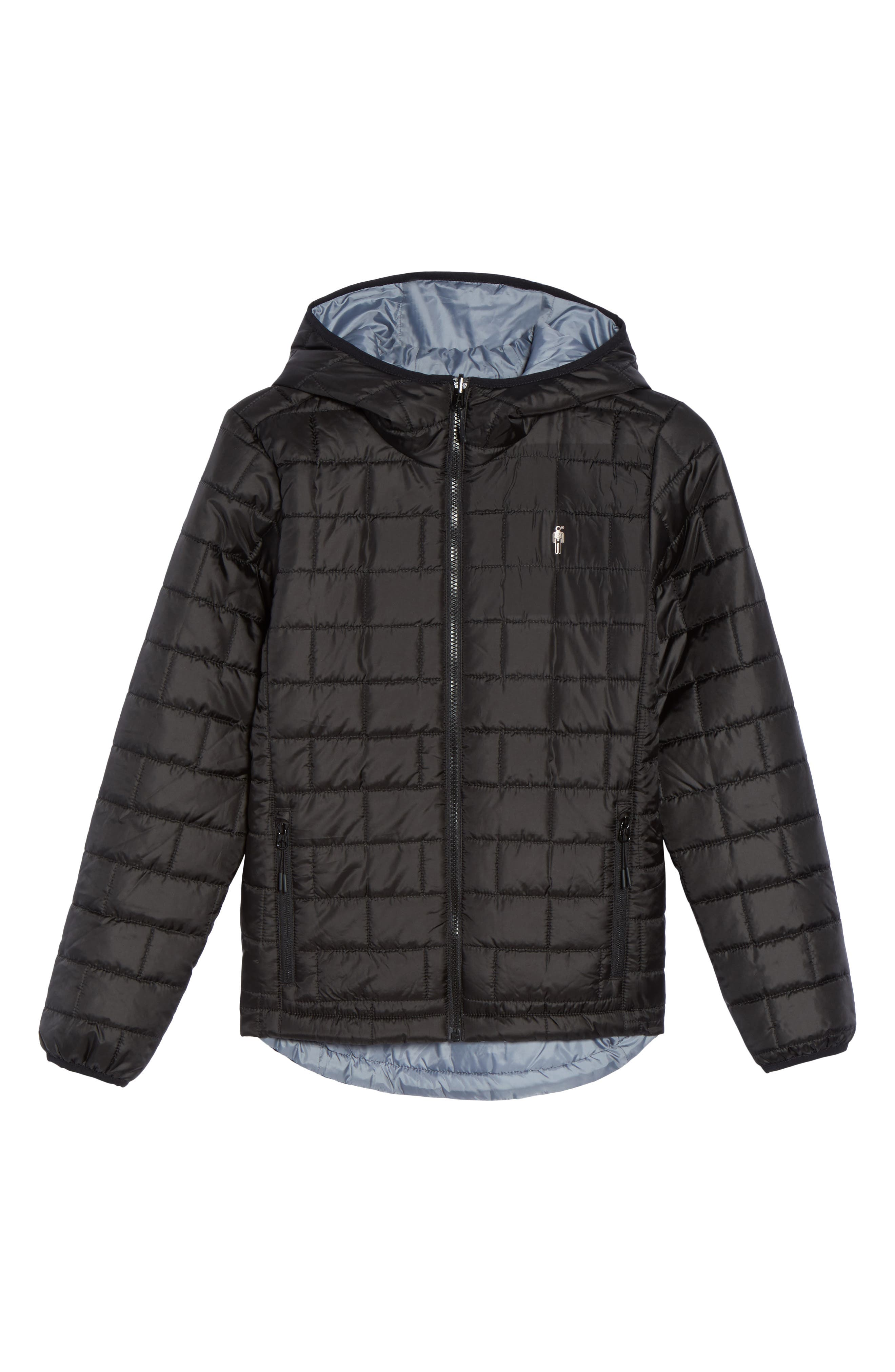 Highland Reversible Water-Resistant & Windproof Quilted Puffer Jacket,                             Alternate thumbnail 7, color,                             Black/ Gunmetal