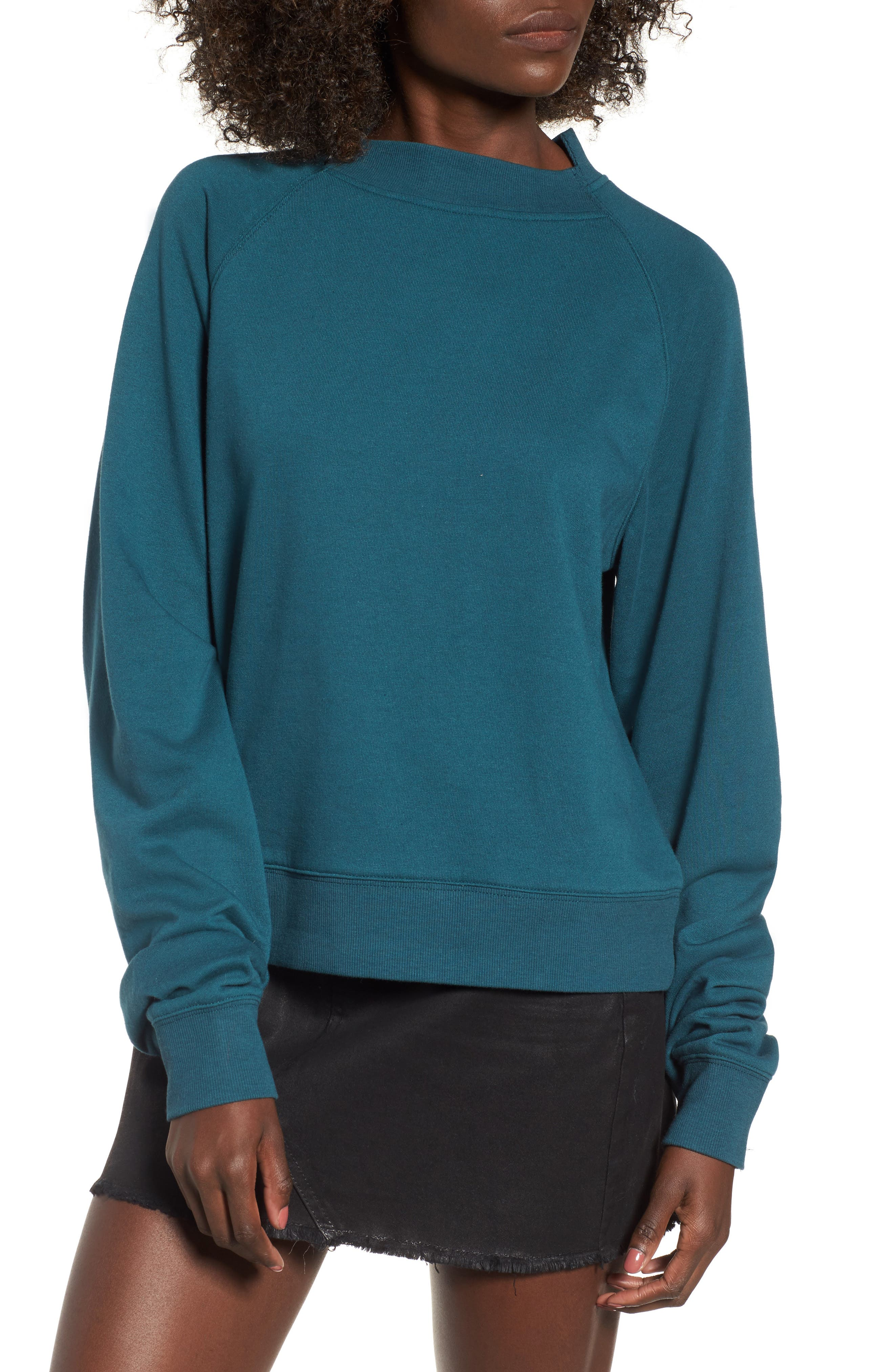 Cinched Sleeve Sweatshirt,                             Main thumbnail 1, color,                             Teal