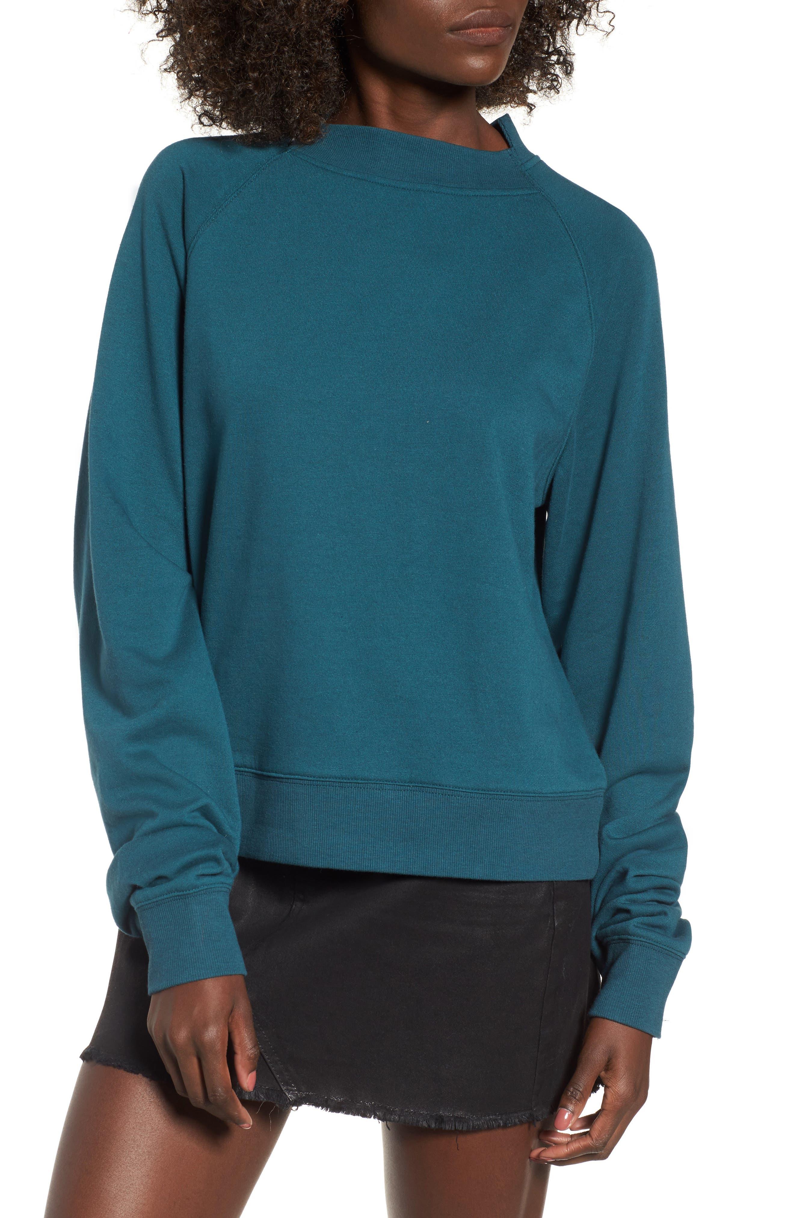 Cinched Sleeve Sweatshirt,                         Main,                         color, Teal