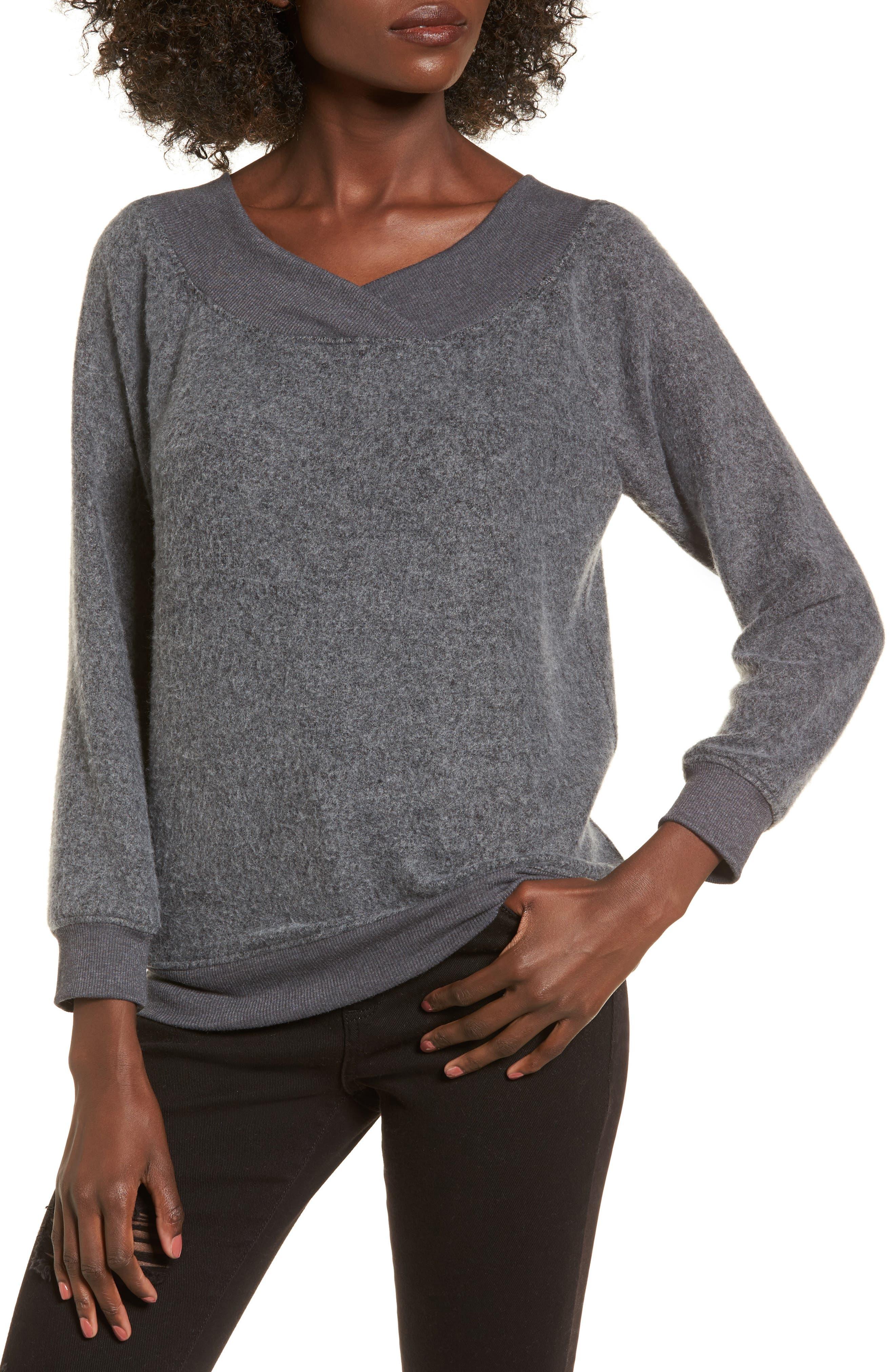 Off the Shoulder Fleece Top,                         Main,                         color, Charcoal