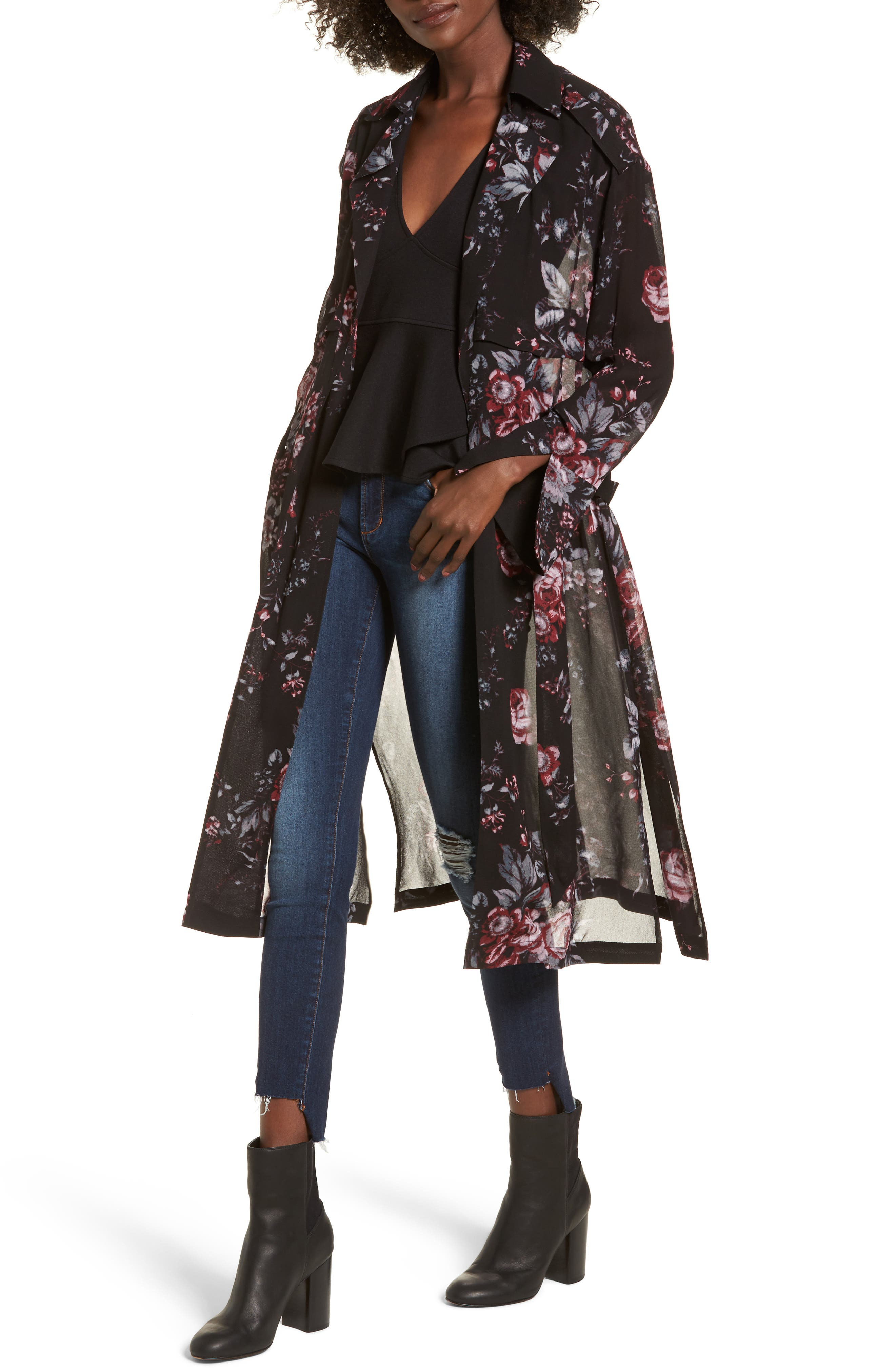 Floral Trench Coat,                             Main thumbnail 1, color,                             Black Photo Real Floral