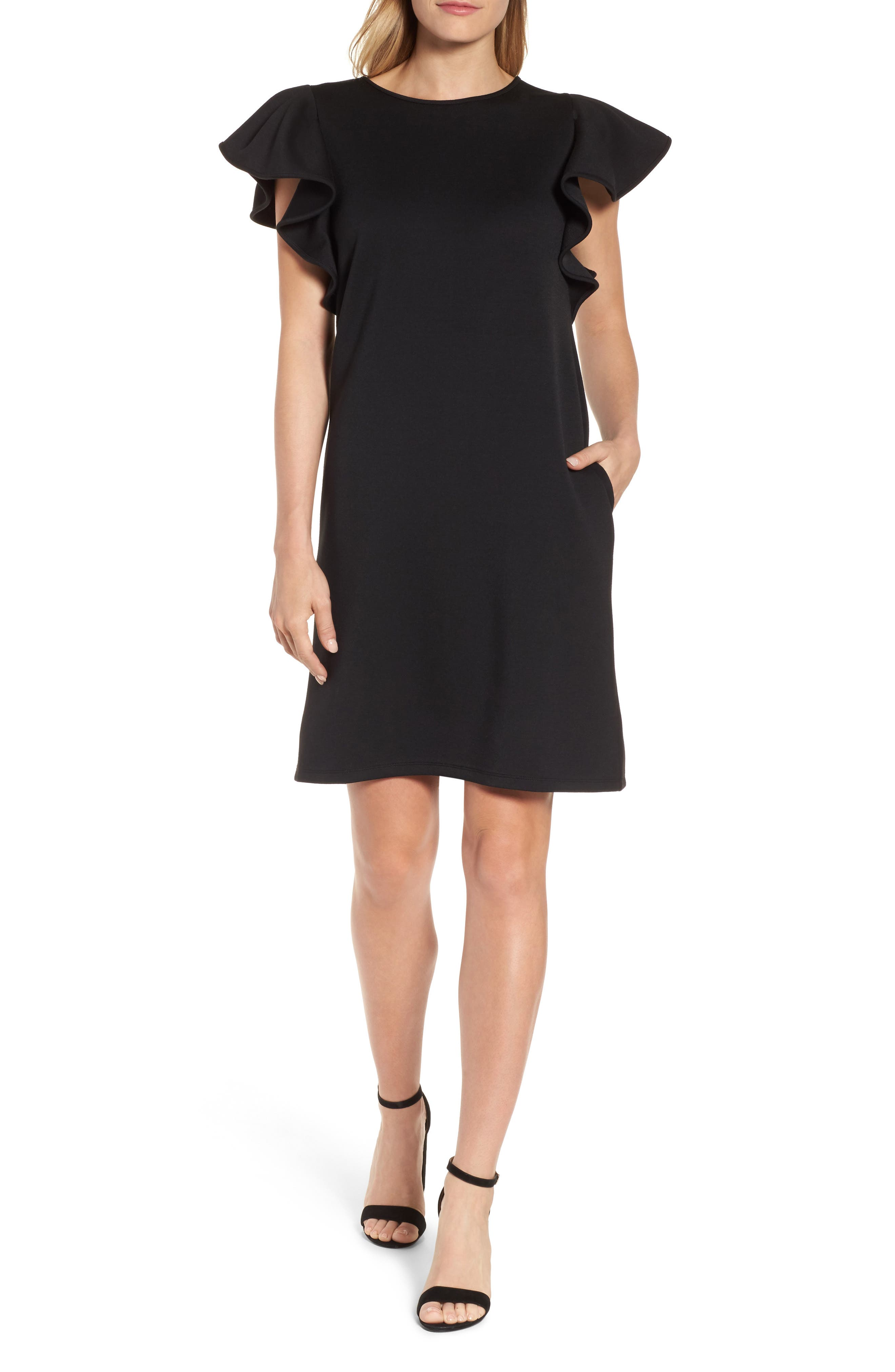 Ruffle Sleeve Neoprene Shift Dress,                             Main thumbnail 1, color,                             Black