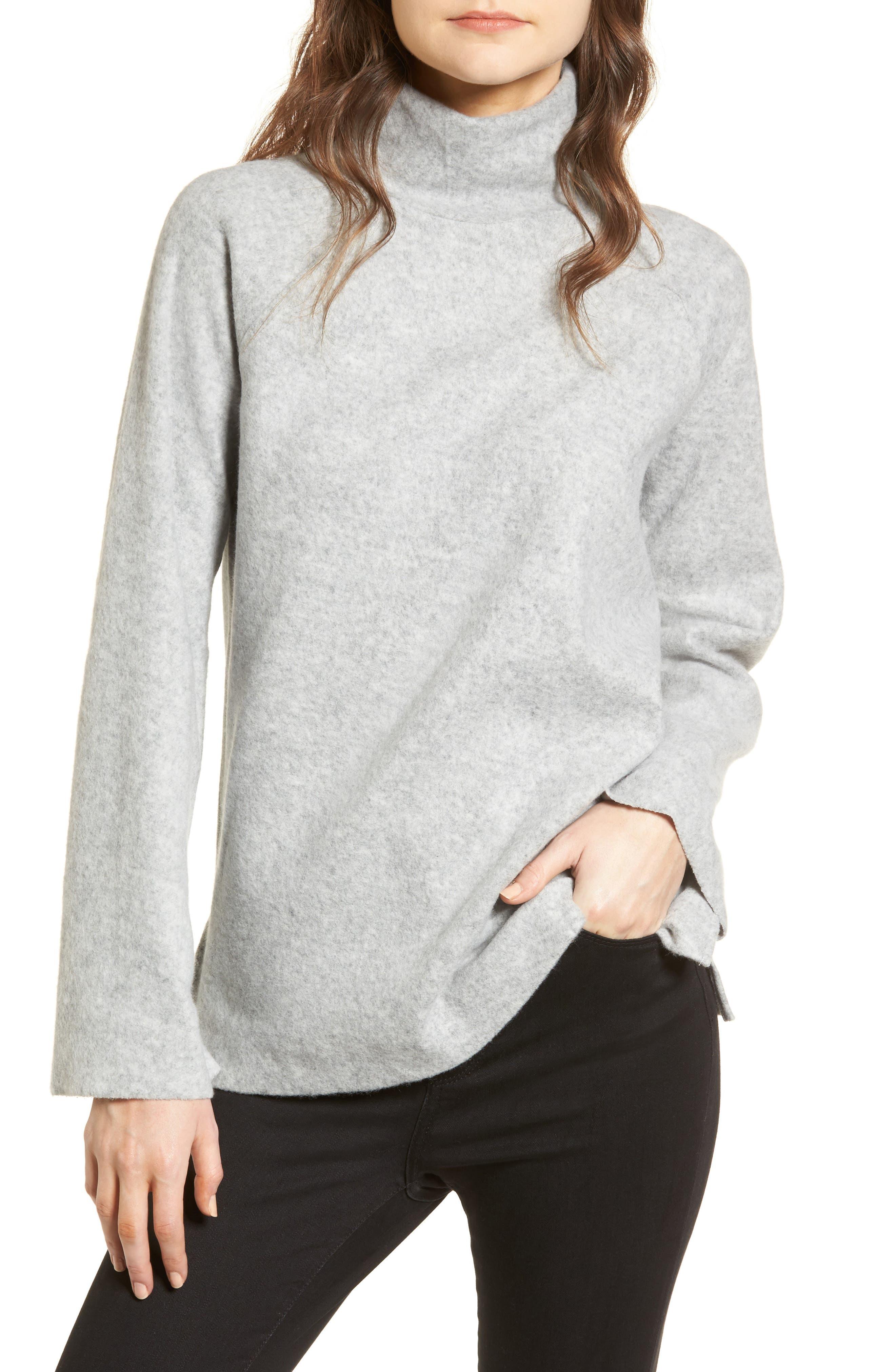 Bell Sleeve Sweatshirt,                             Main thumbnail 1, color,                             Grey Heather