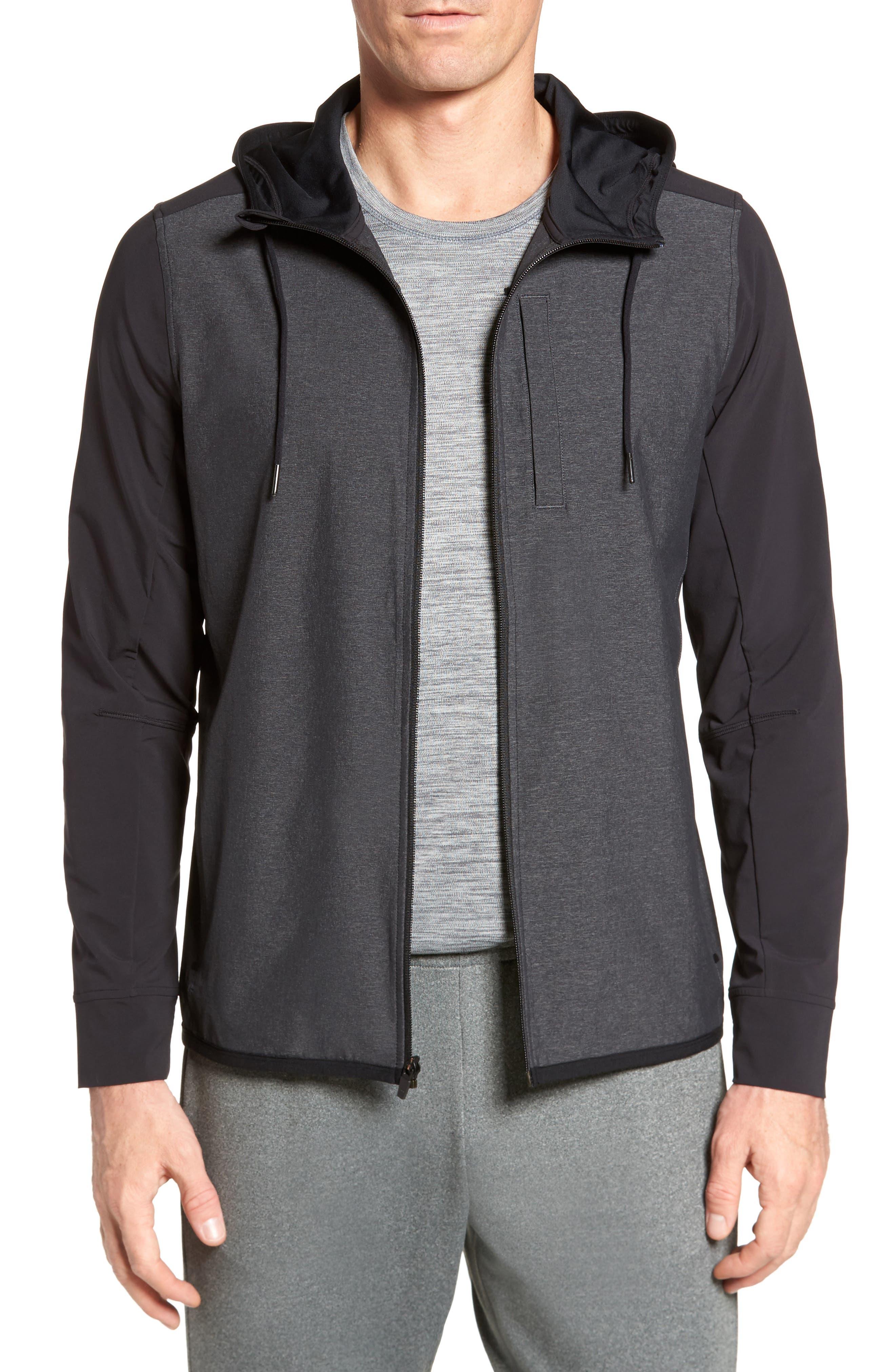 Knit & Woven Hoodie,                         Main,                         color, Grey Ebony - Black