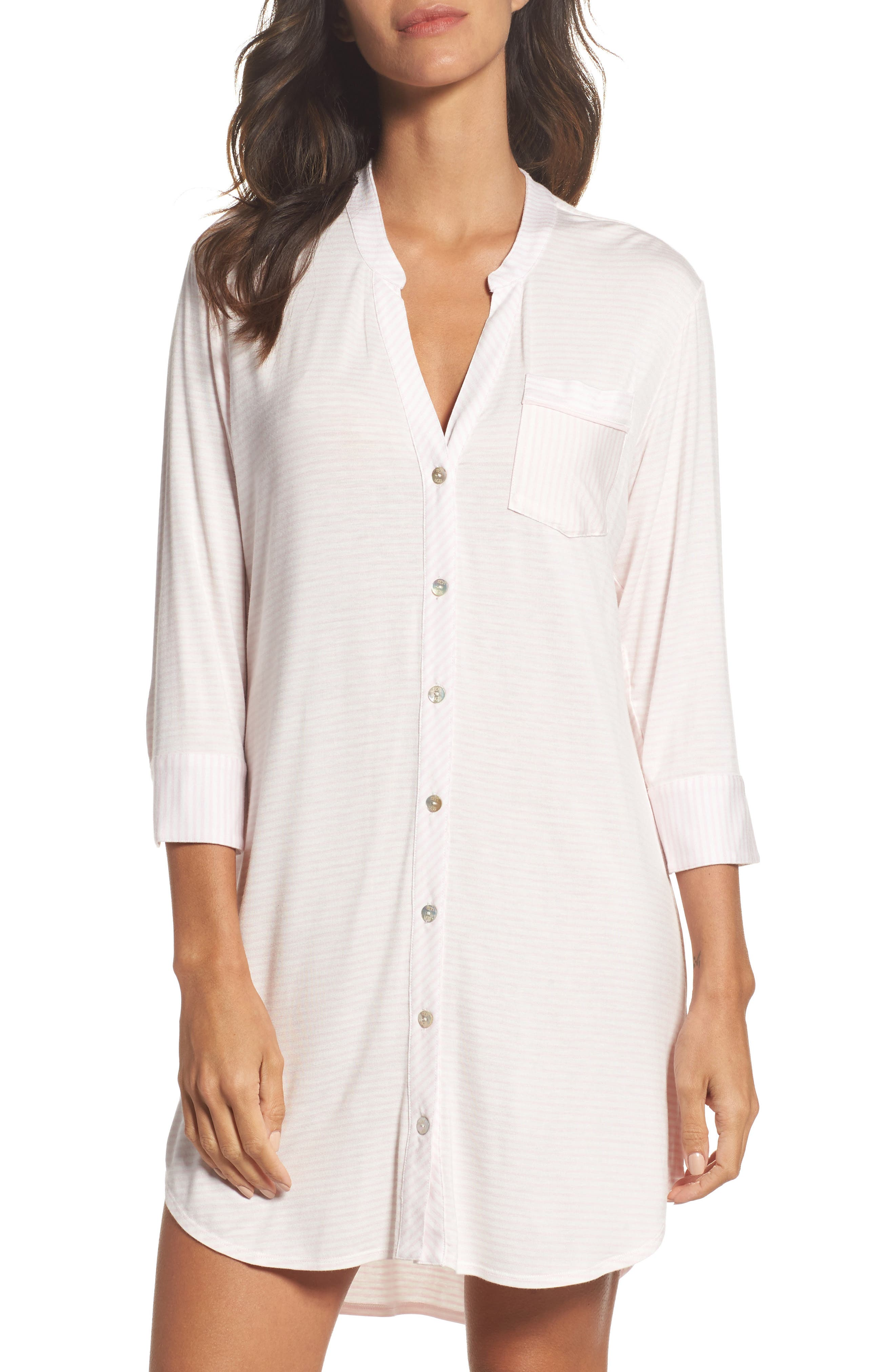 Vivian Sleep Shirt,                             Main thumbnail 1, color,                             Seashell Pink/ White