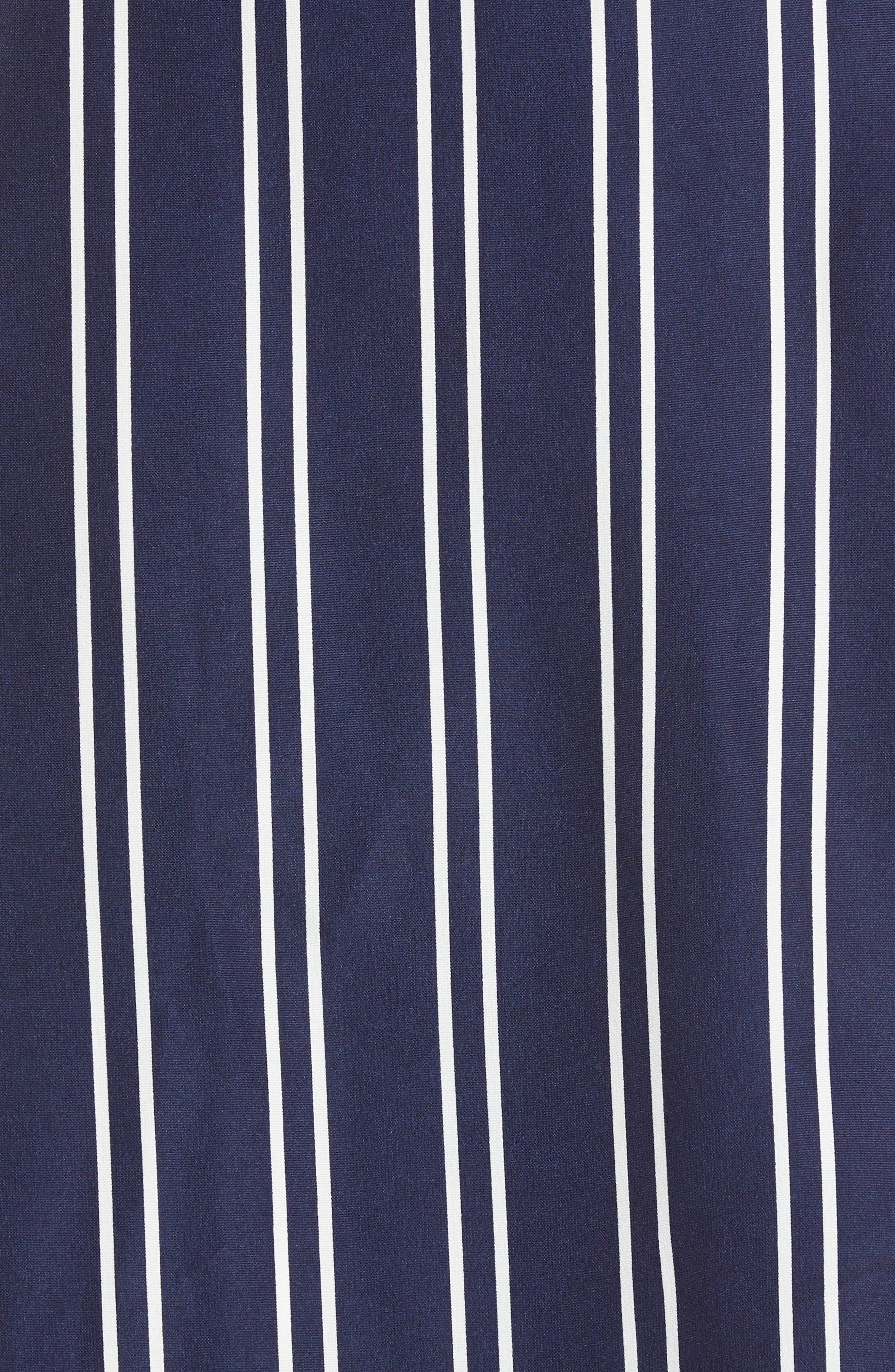 Stripe Wrap Midi Dress,                             Alternate thumbnail 5, color,                             Navy