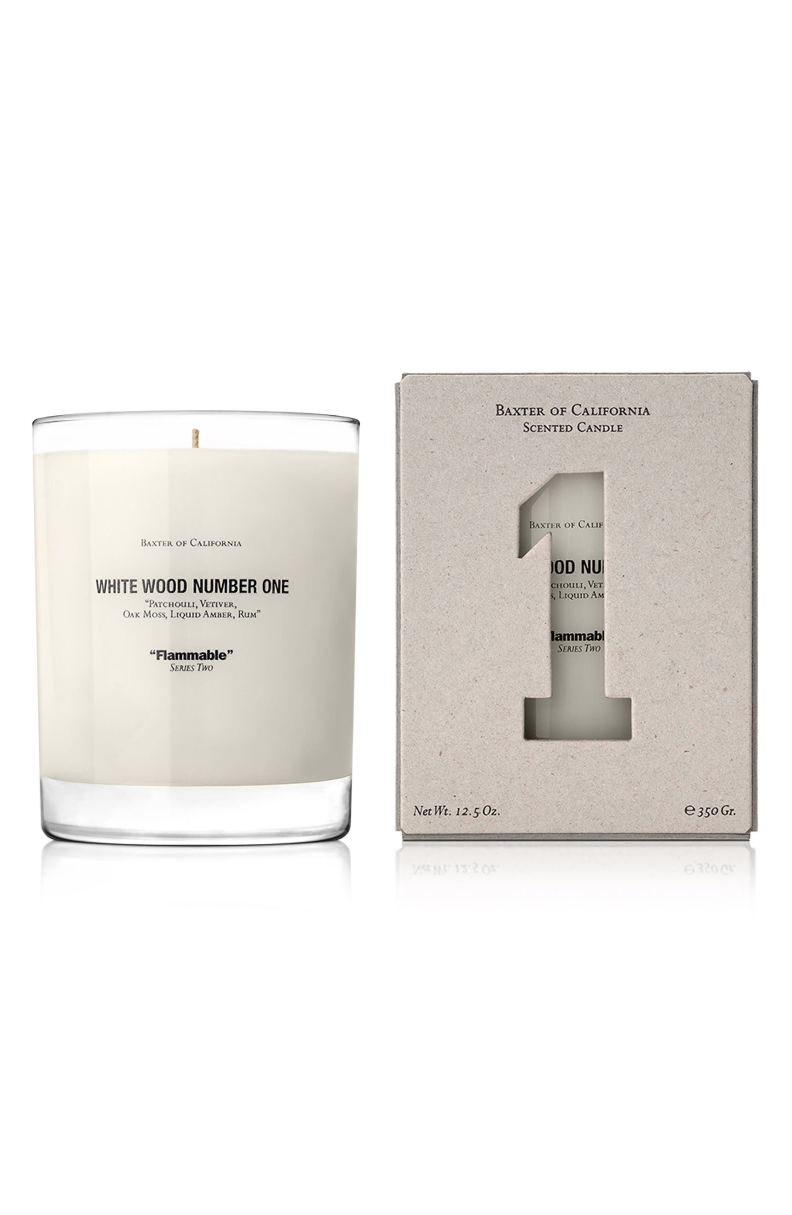 White Wood Number One Flammable Scented Candle,                             Main thumbnail 1, color,                             No Color