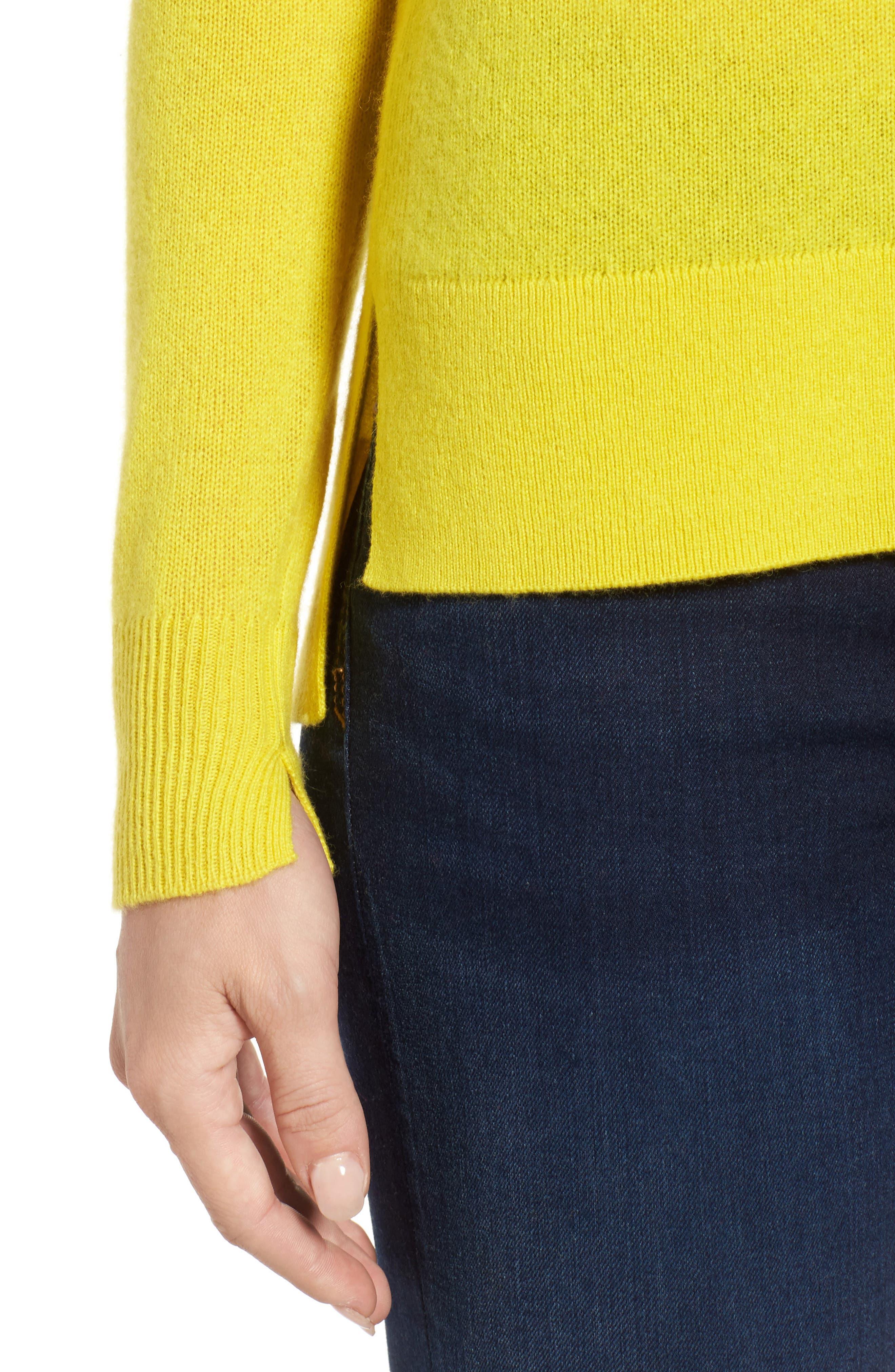 Crewneck Cashmere Sweater,                             Alternate thumbnail 5, color,                             Blazing Buttercup