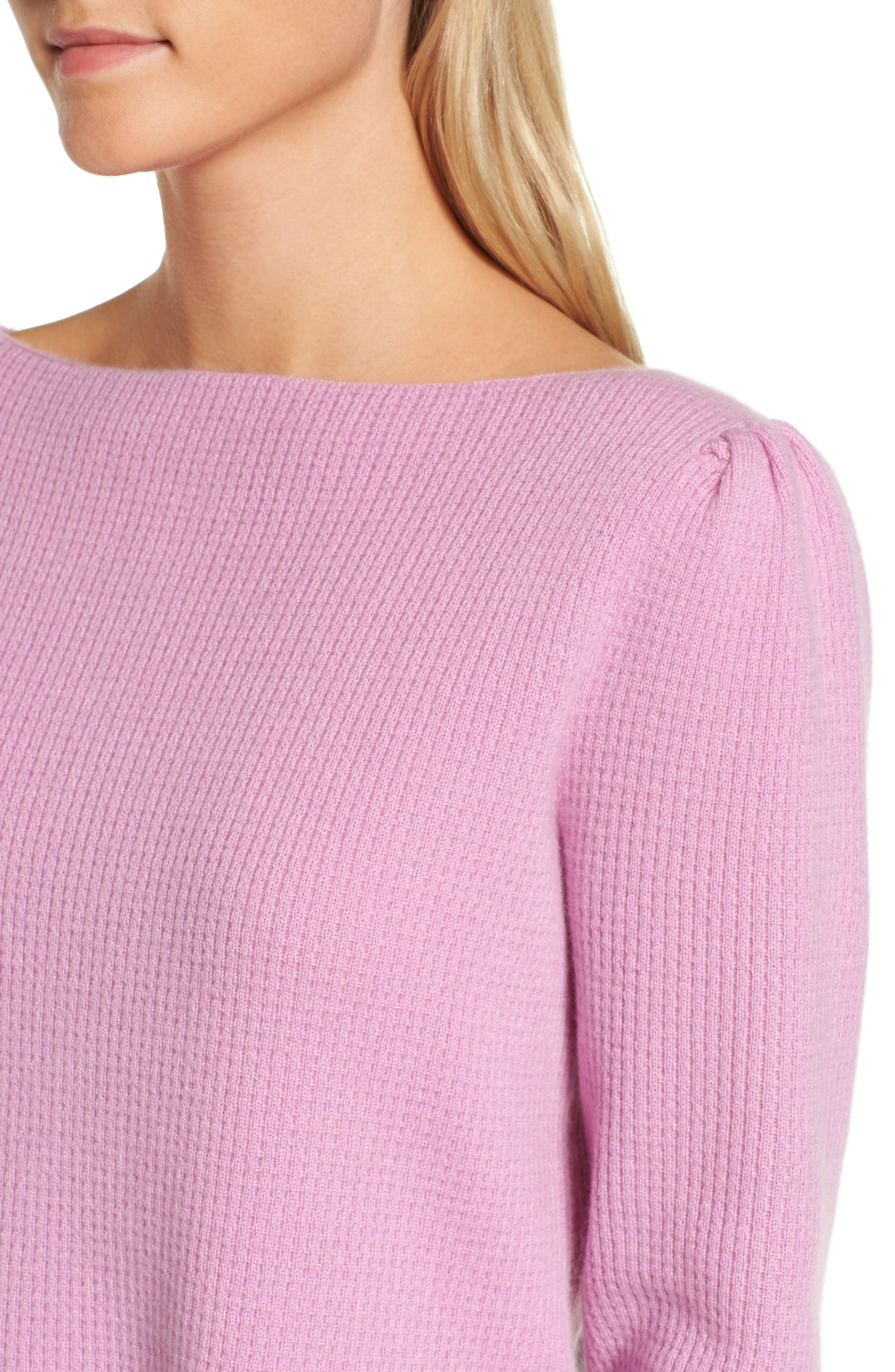 Waffle Stitch Cashmere Sweater,                             Alternate thumbnail 4, color,                             Pink Gale