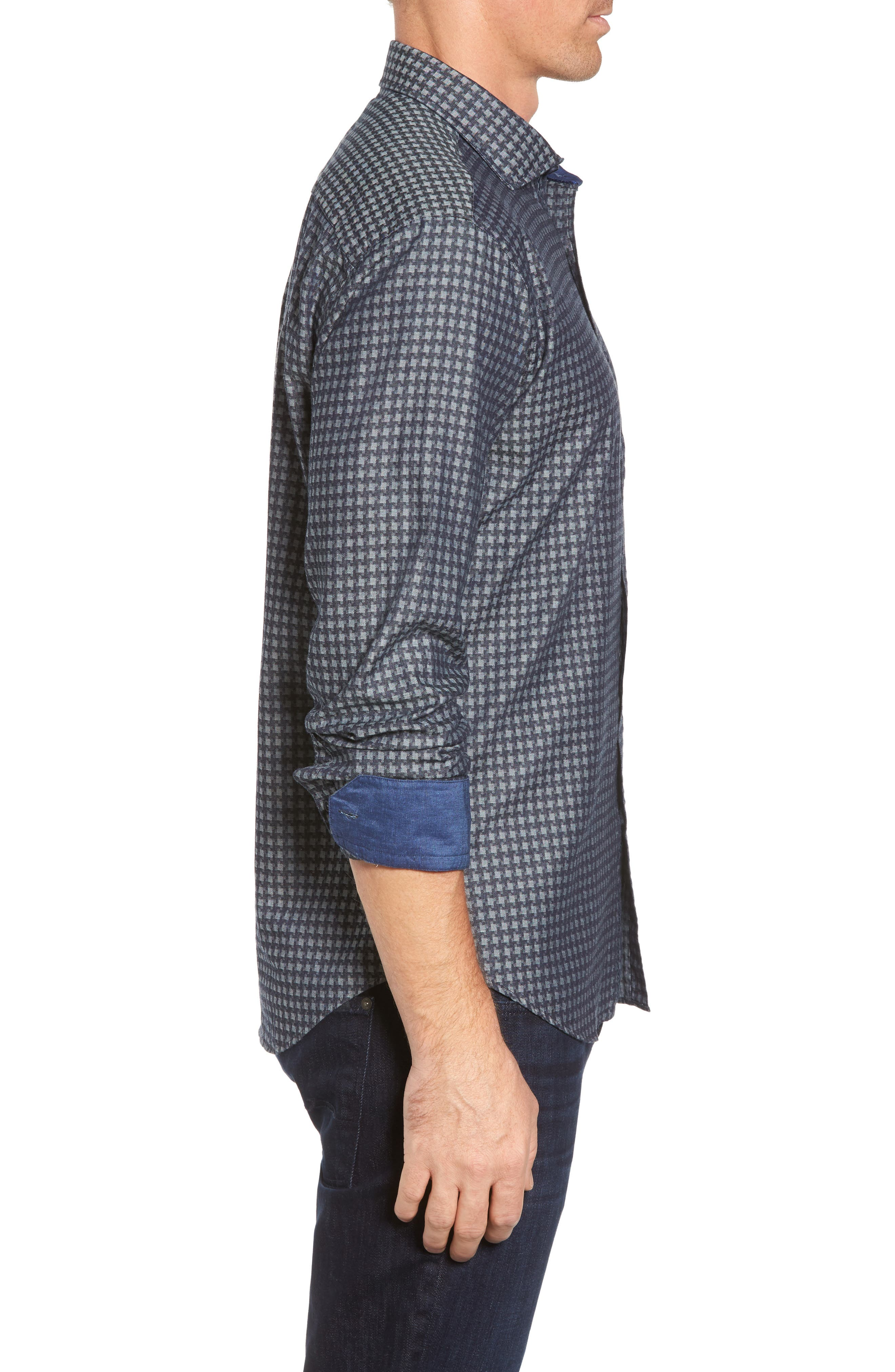 Shaped Fit Houndstooth Print Sport Shirt,                             Alternate thumbnail 3, color,                             Navy