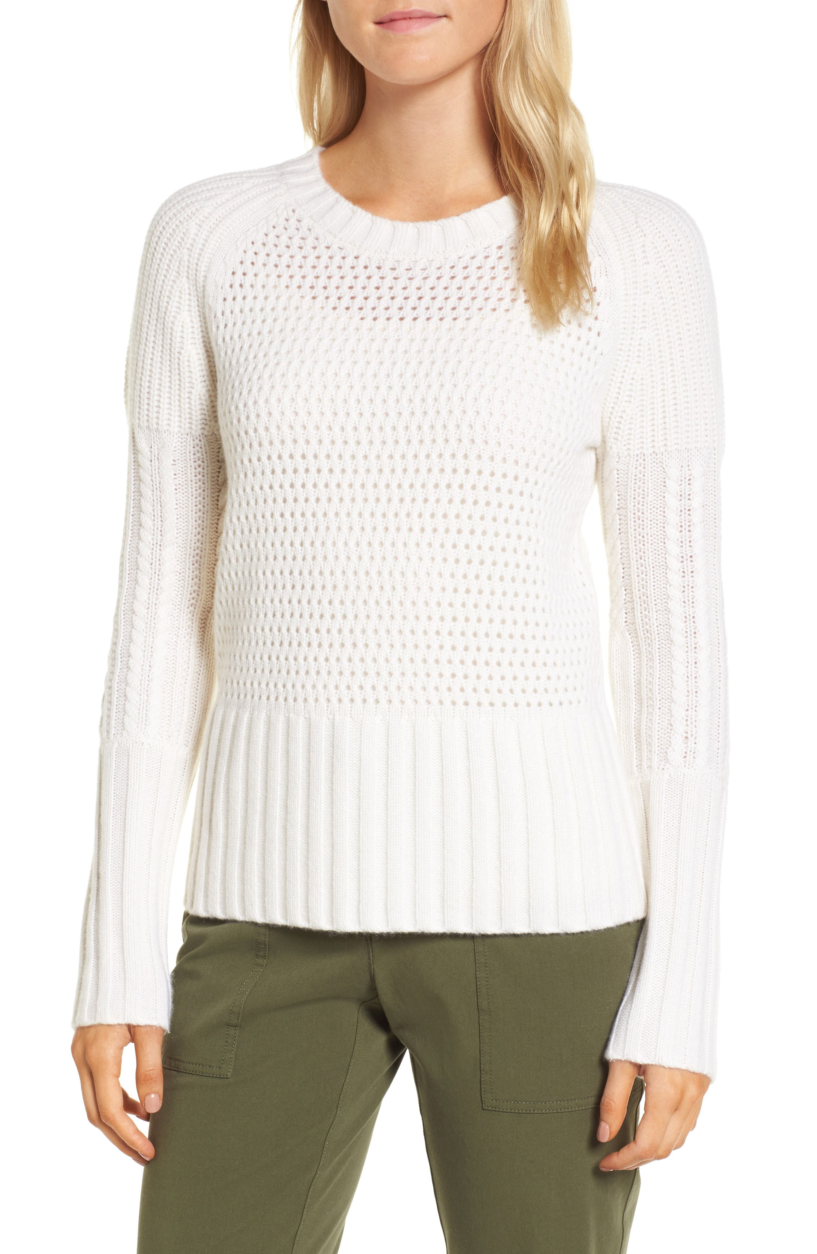 Mixed Stitch Cashmere Sweater,                         Main,                         color, Ivory Soft