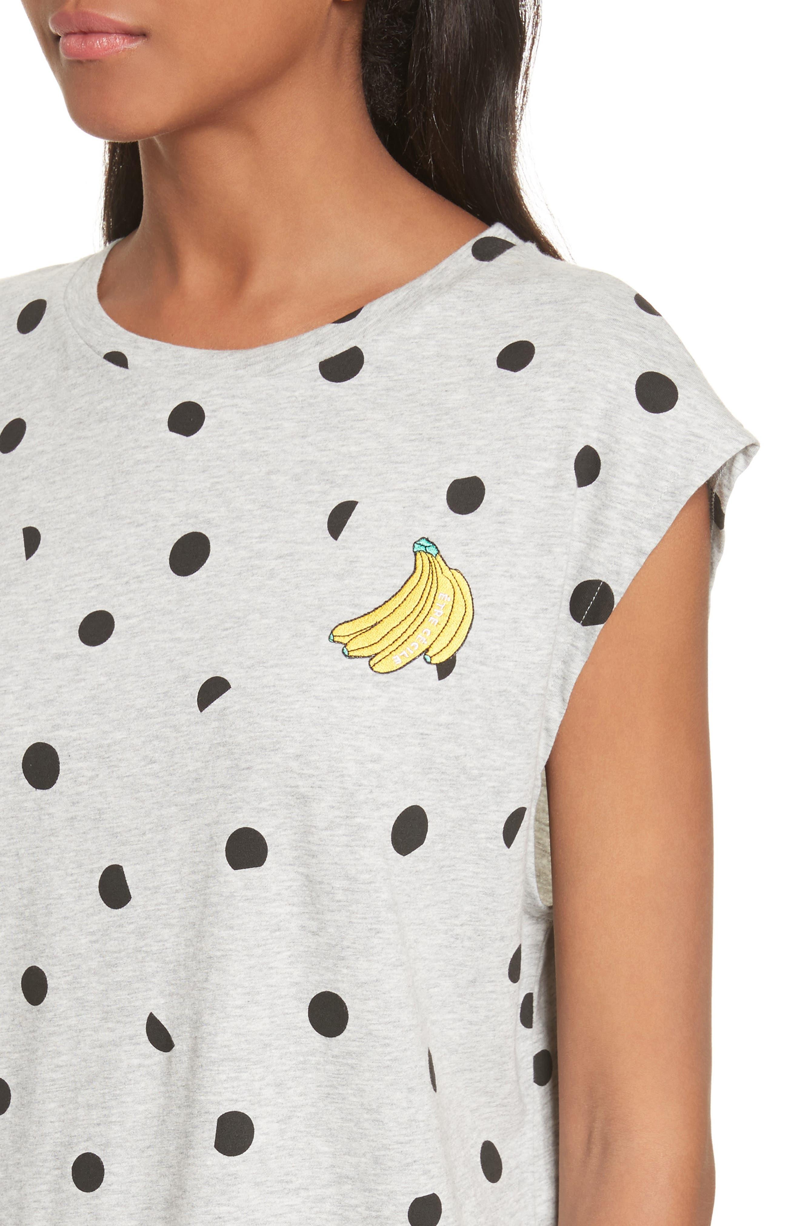 être cécile Banana Dot Boyfriend Tank,                             Alternate thumbnail 4, color,                             Grey Marl/ Black Dot