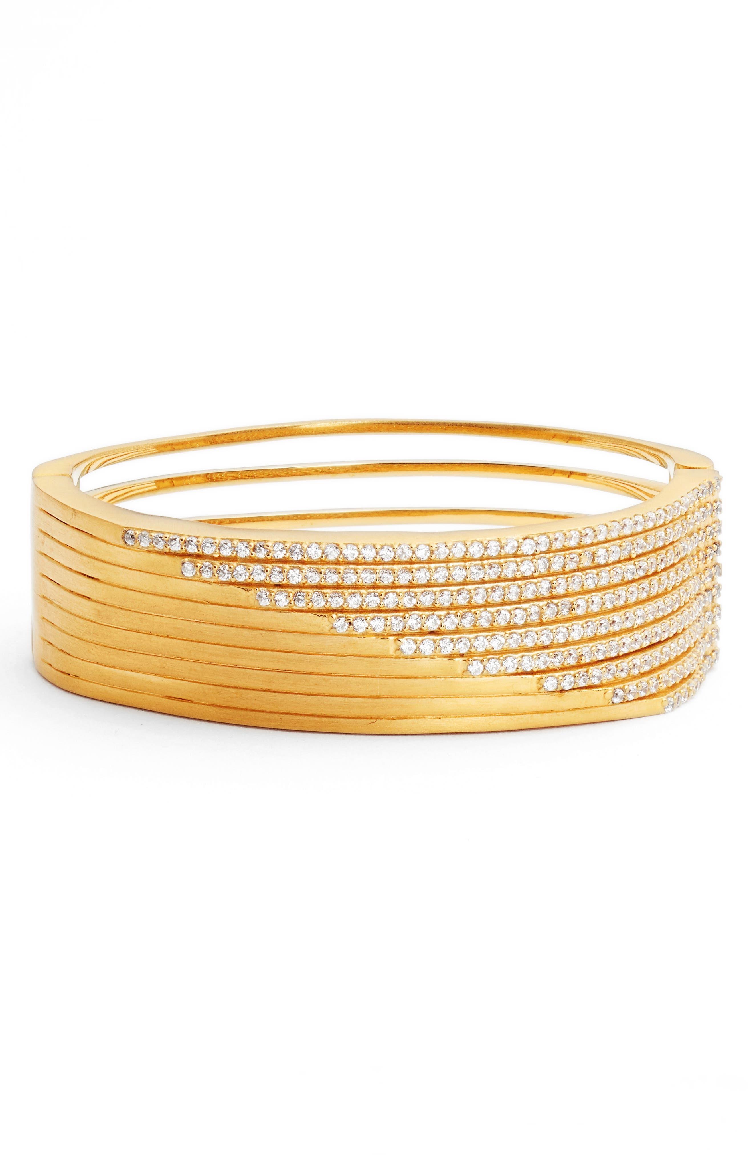 Pavé Strata Cuff,                         Main,                         color, White Topaz / Gold