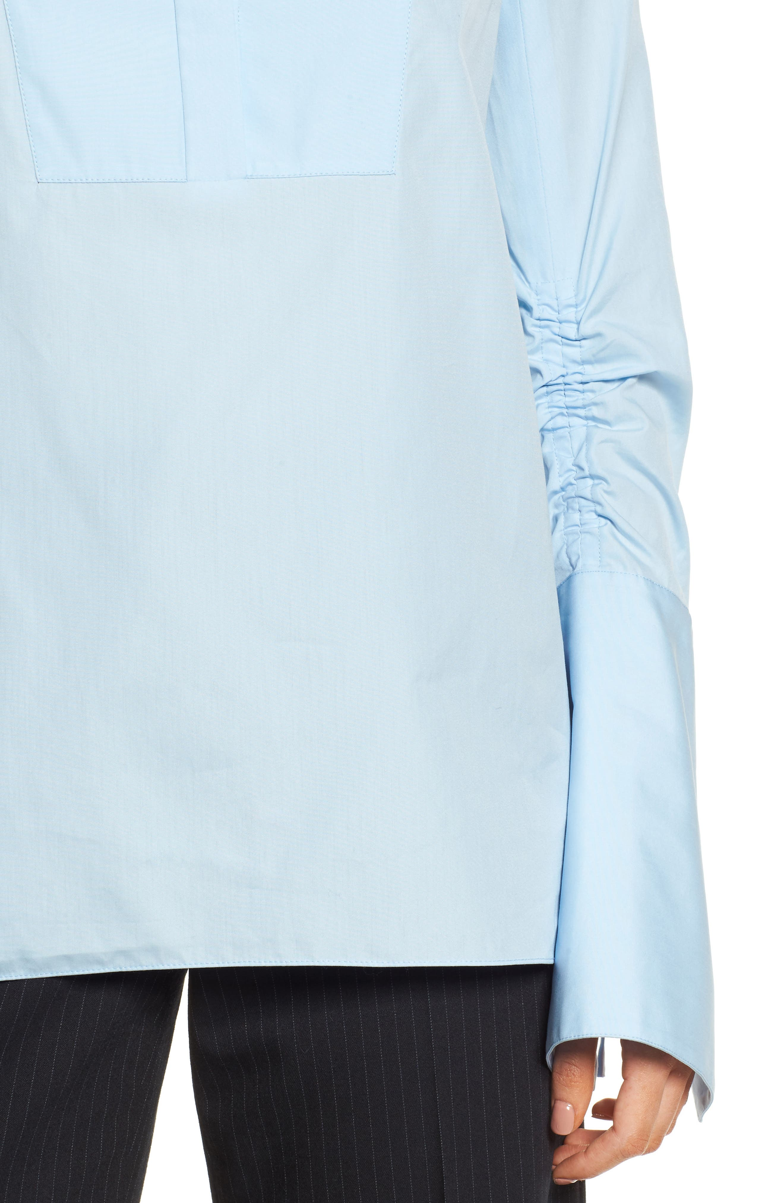 Ruched Sleeve Poplin Blouse,                             Alternate thumbnail 4, color,                             Blue Kentucky