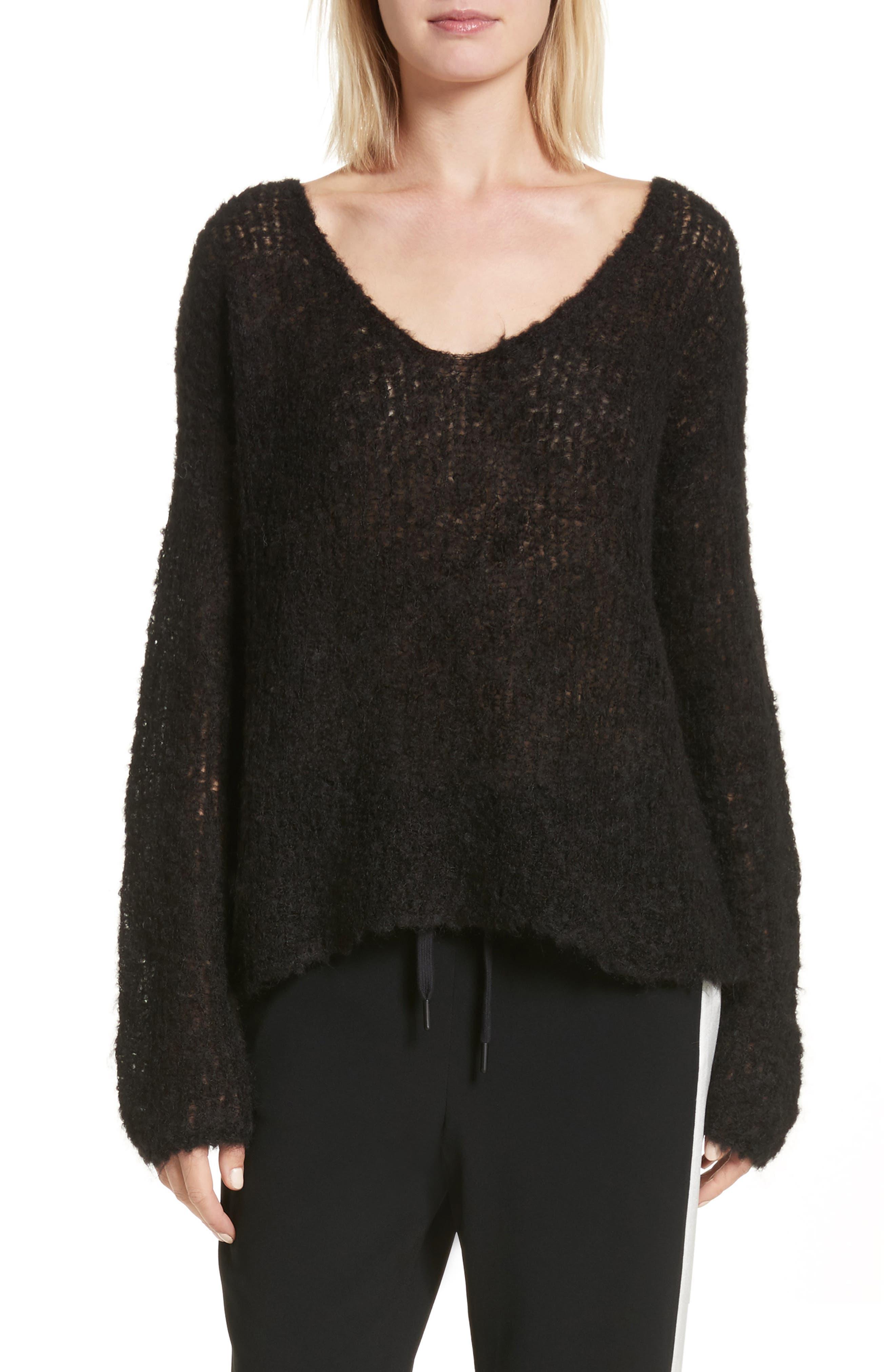 Freda Alpaca Blend Sweater,                             Main thumbnail 1, color,                             Black