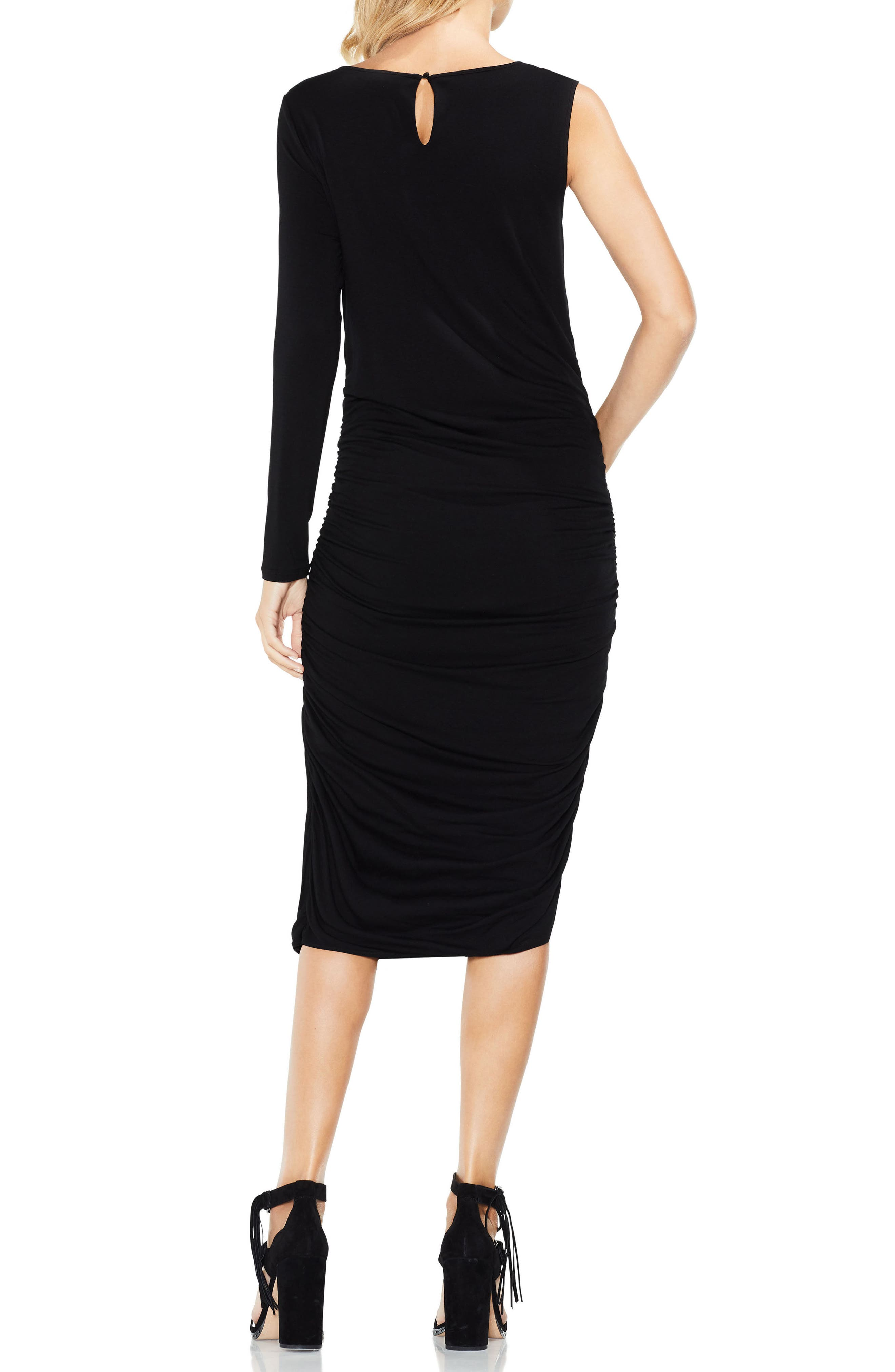 One Sleeve Side Ruched Body-Con Dress,                             Alternate thumbnail 2, color,                             Rich Black