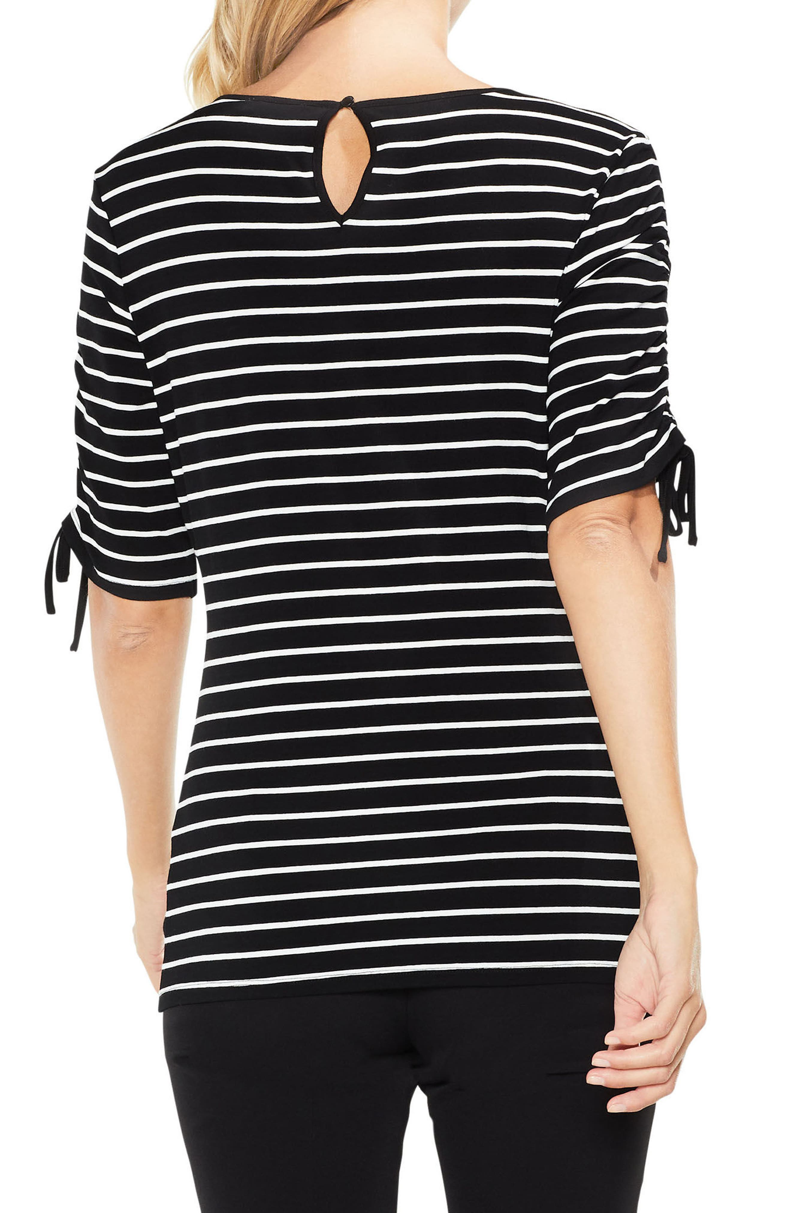 Alternate Image 2  - Vince Camuto Drawstring Sleeve Stripe Top