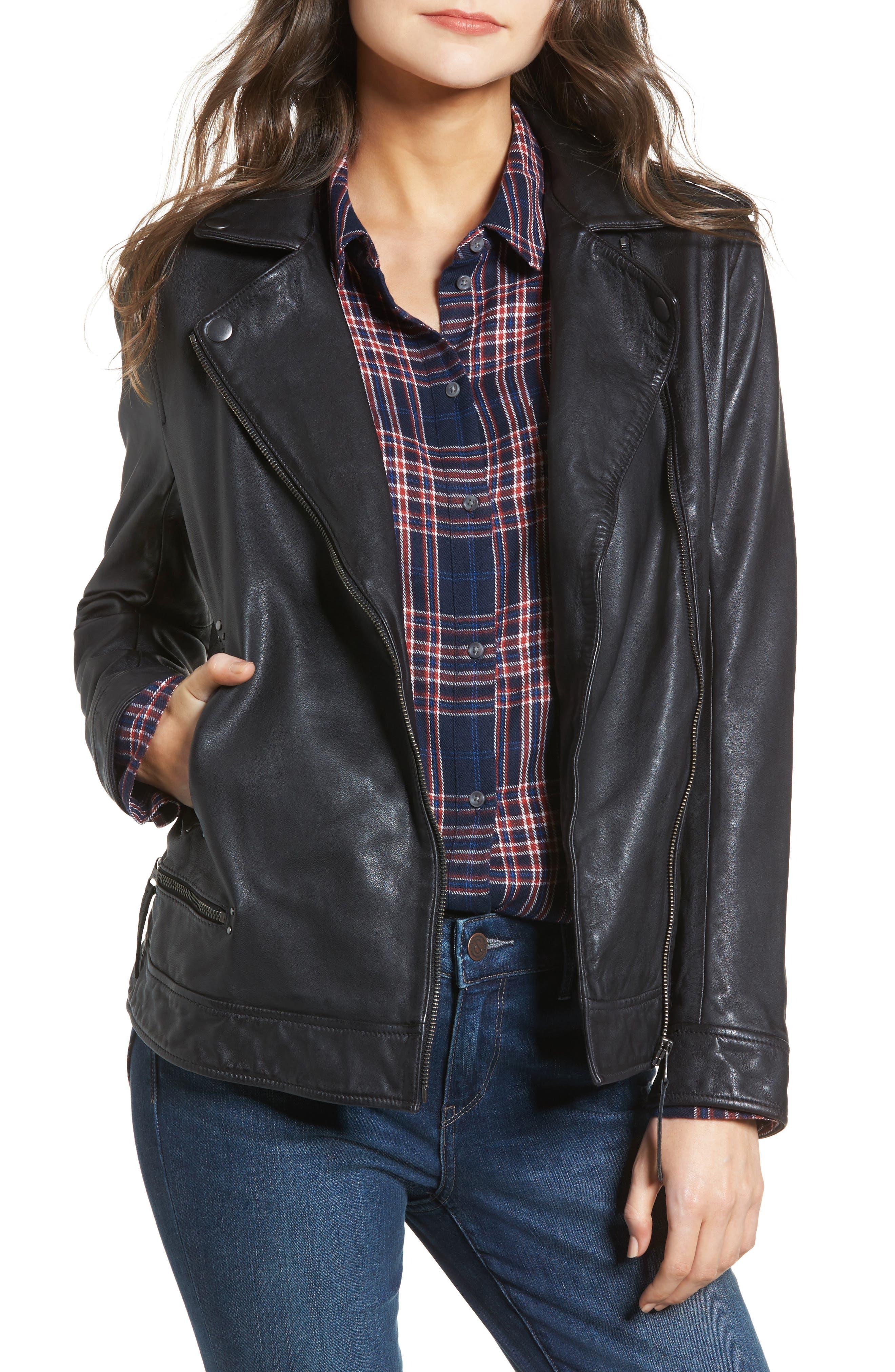 Studded Leather Jacket,                         Main,                         color, Black