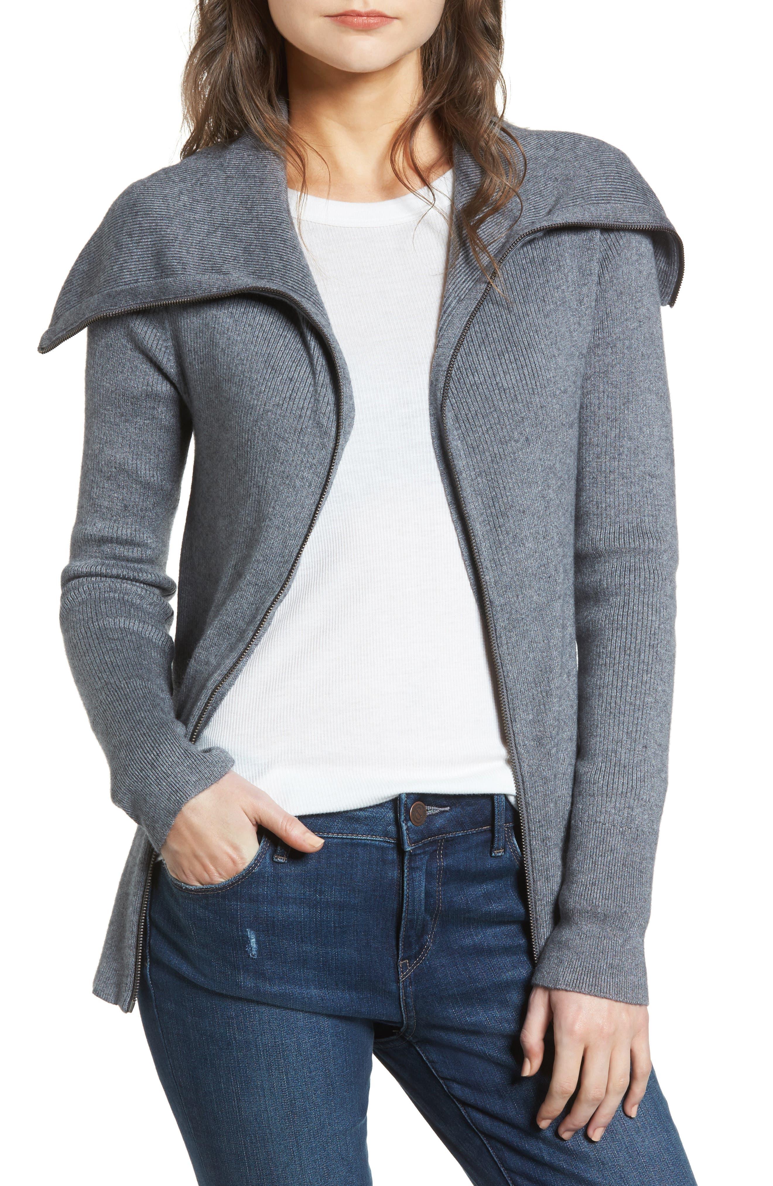 Wide Collar Zip Sweater,                             Main thumbnail 1, color,                             Grey Dark Heather