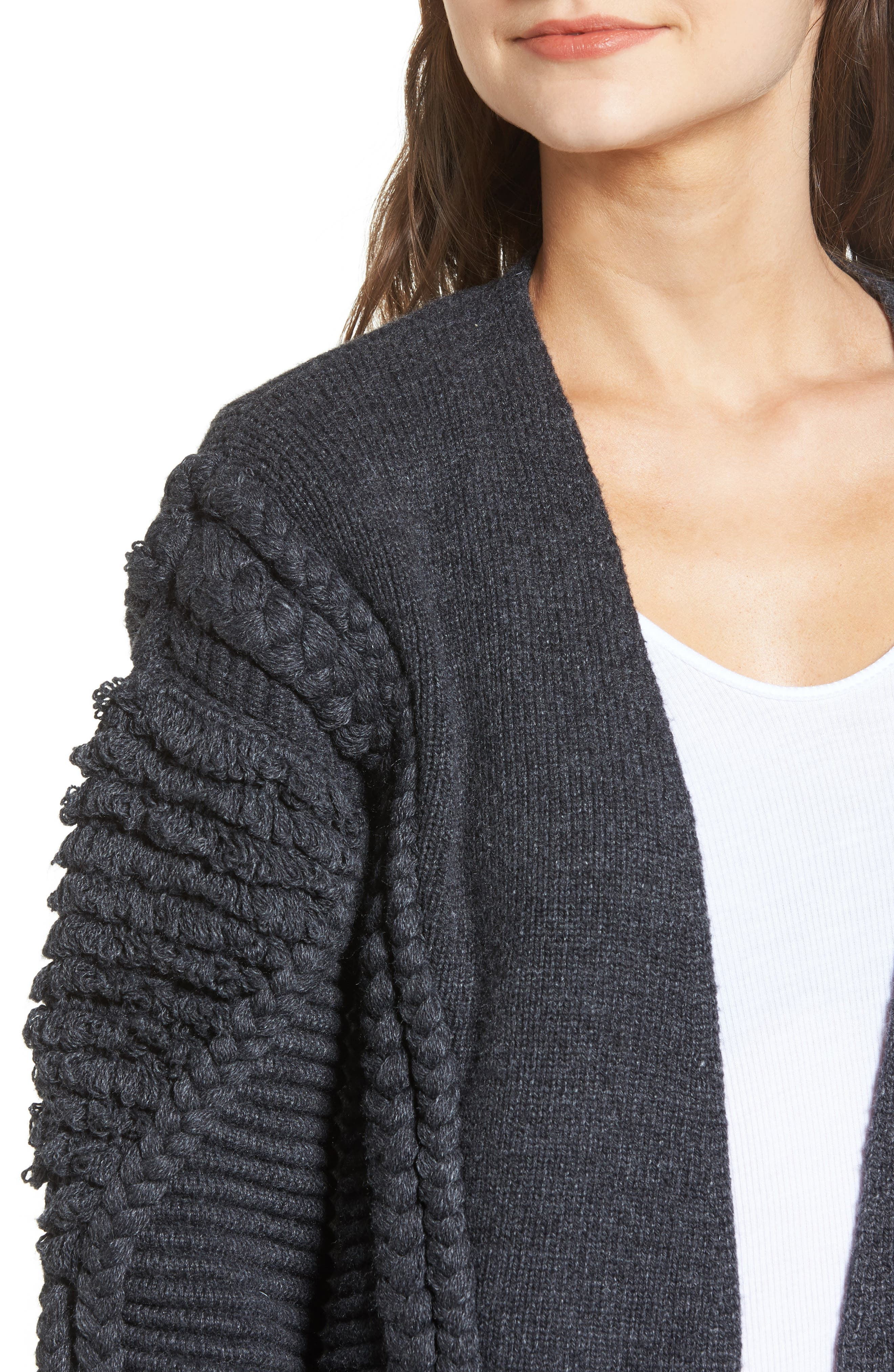 Cable Detail Cardigan,                             Alternate thumbnail 4, color,                             Grey Dark Charcoal Heather