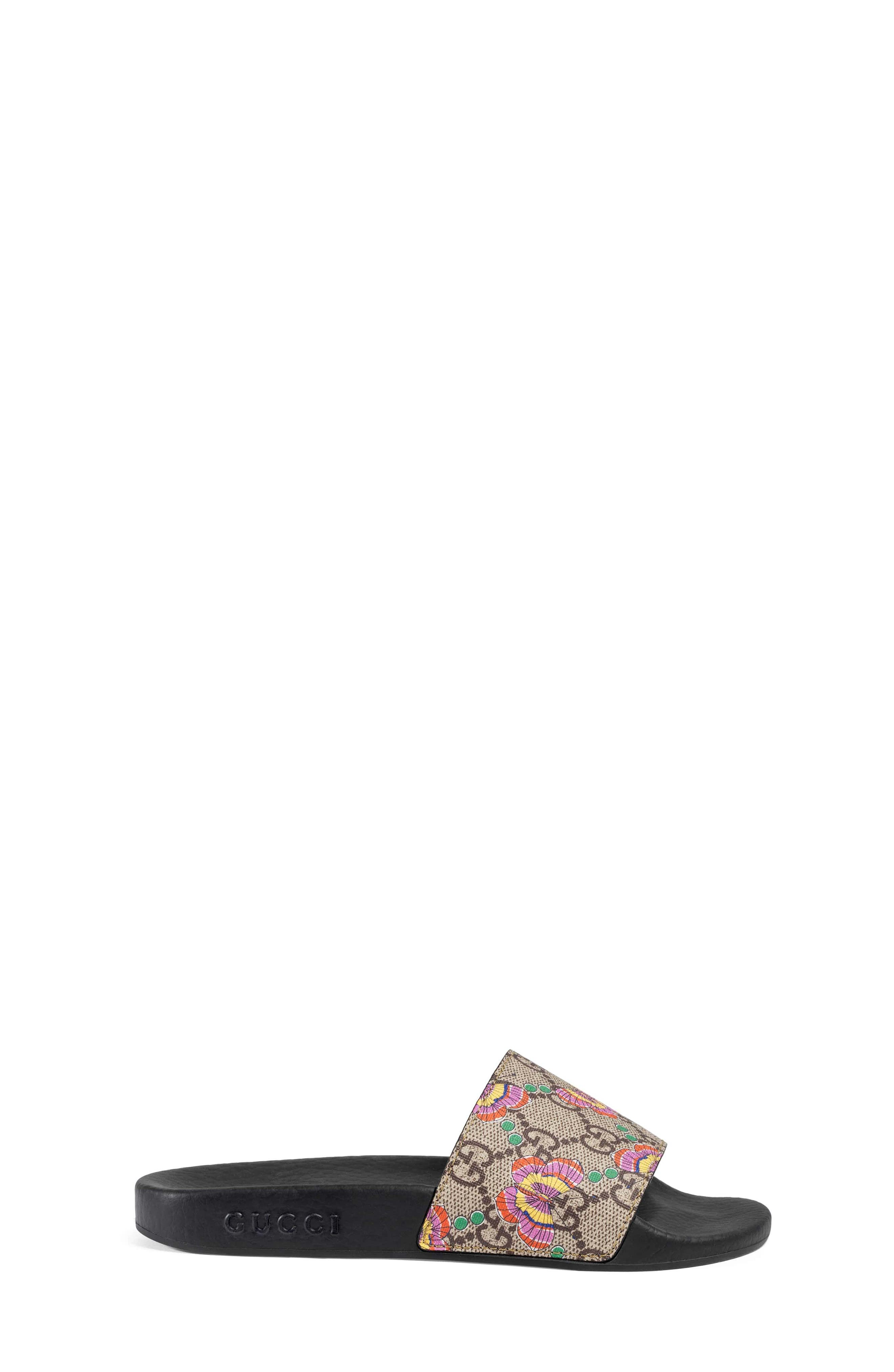 GG Supreme Butterfly Slide Sandal,                             Alternate thumbnail 2, color,                             Beige/ Pink Multi