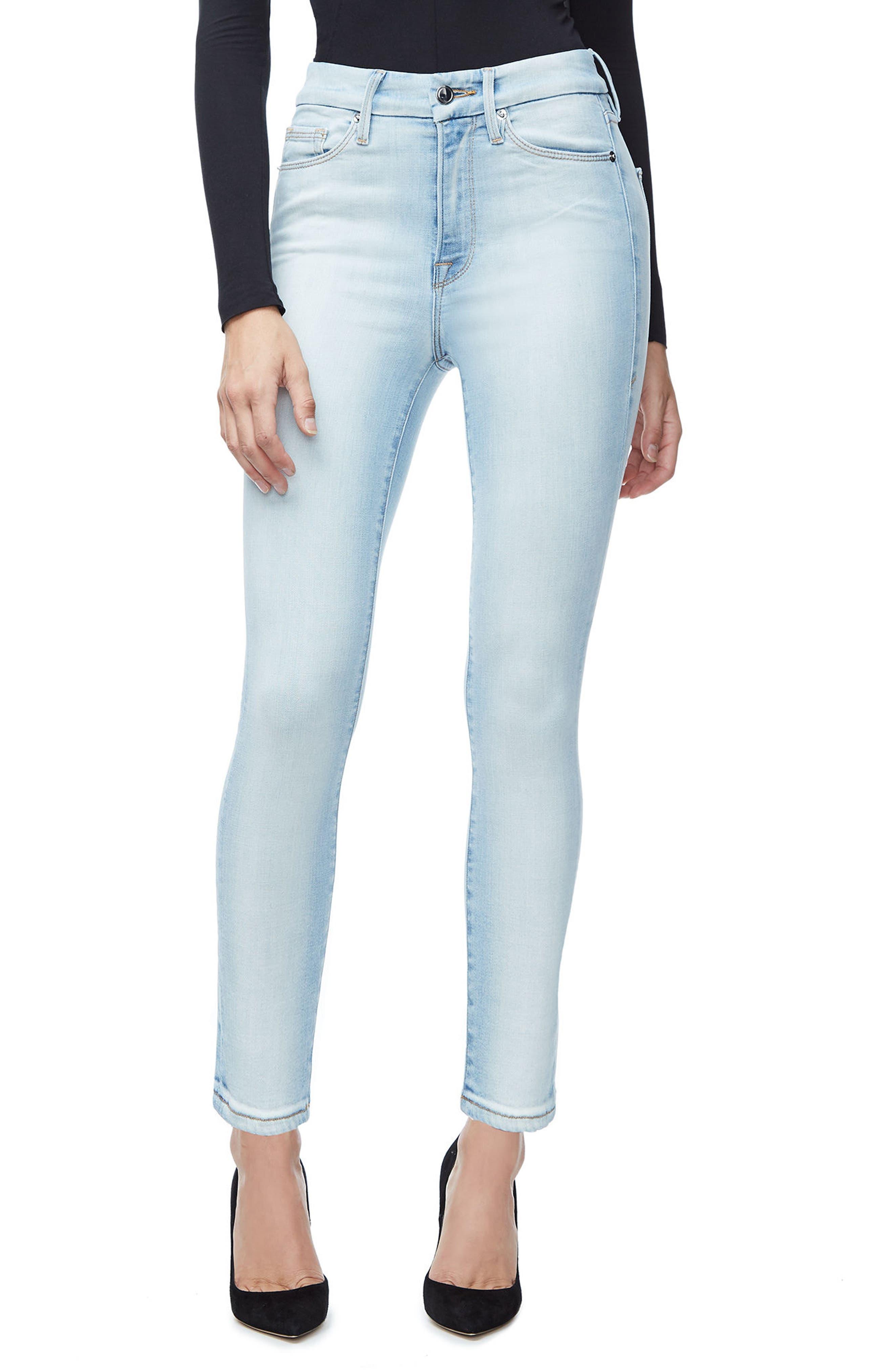 Main Image - Good American Good Waist Skinny Jeans (Blue 116) (Regular & Plus Size)