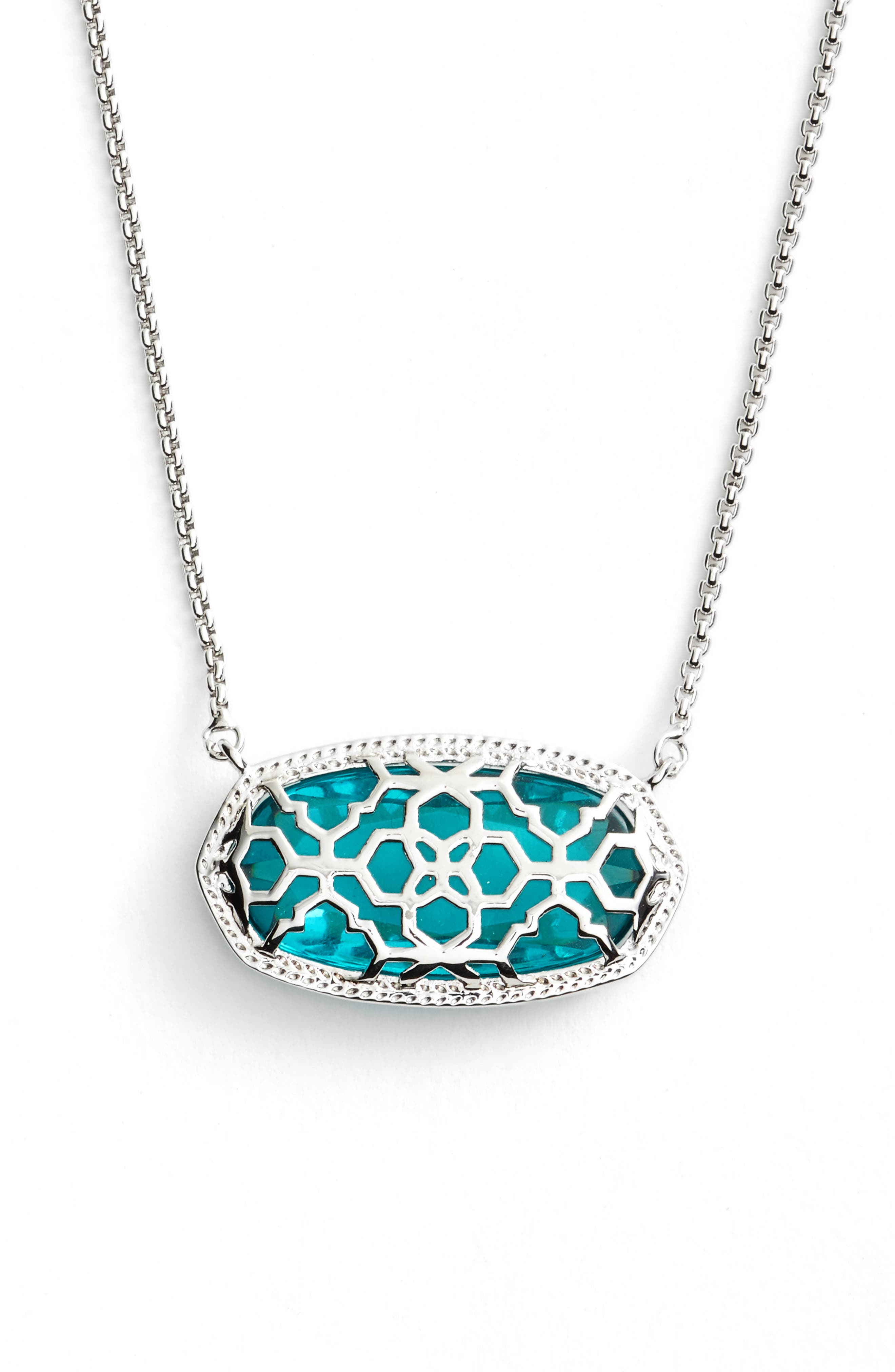 Delaney Pendant Necklace,                             Alternate thumbnail 4, color,                             London Blue/ Silver