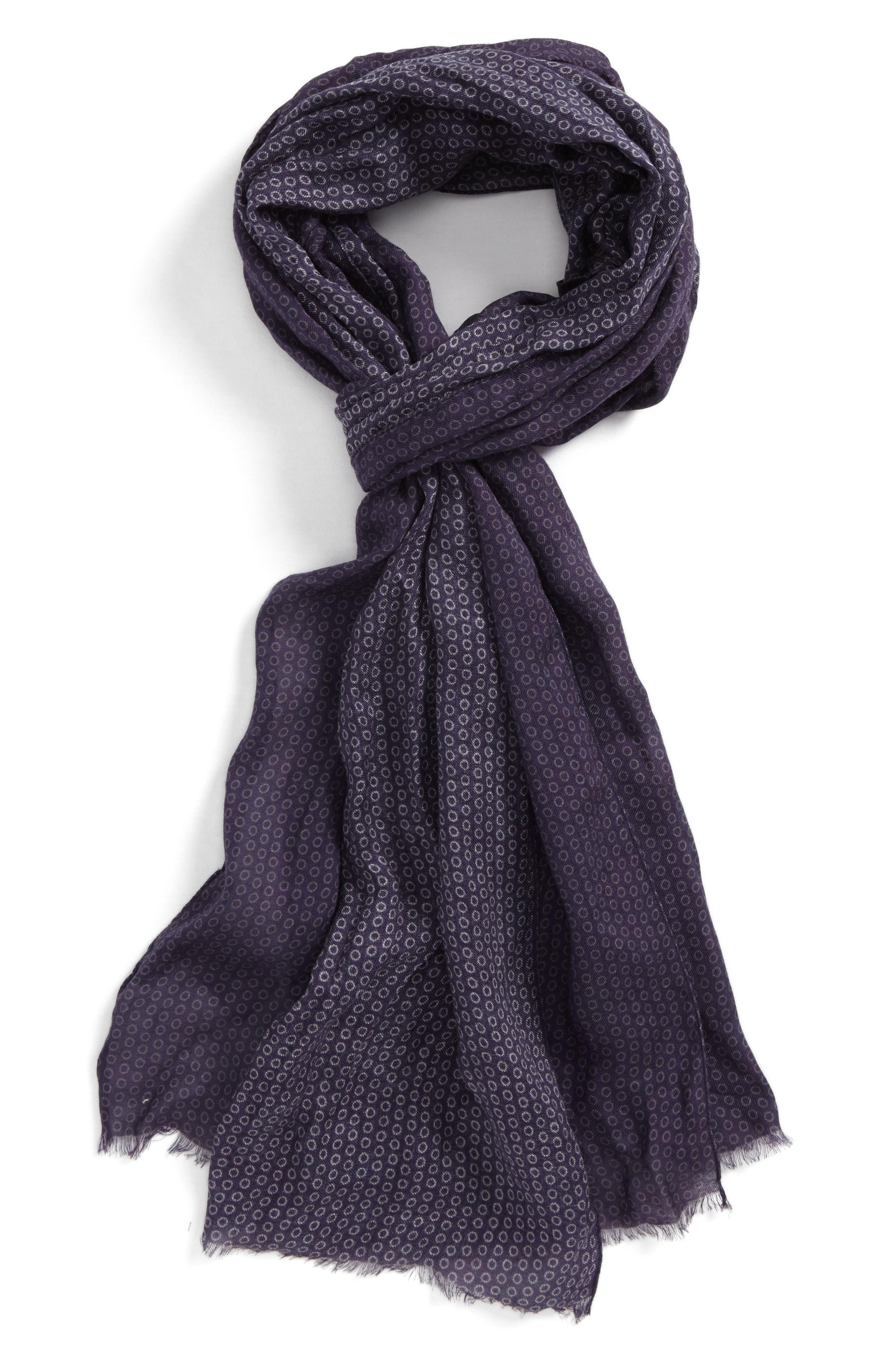 John Varvatos Collection Crinkled Dot Modal & Wool Scarf