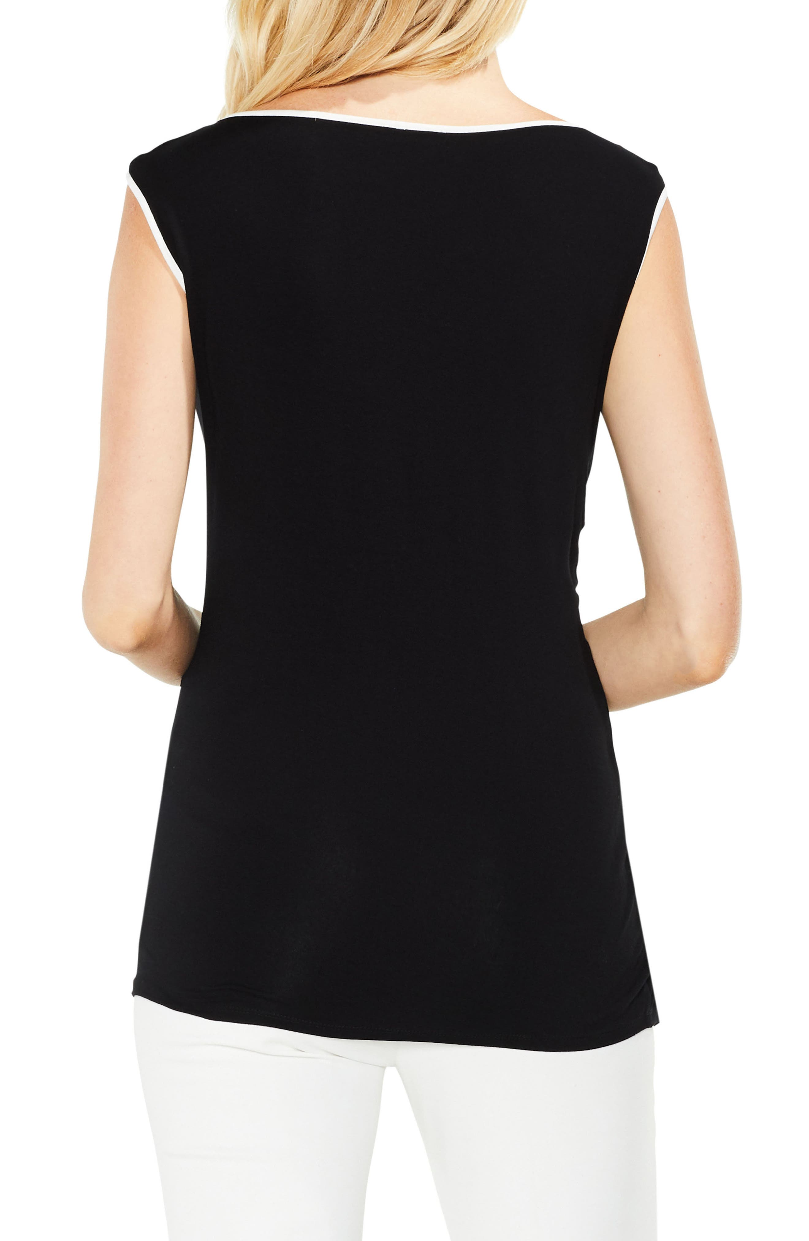 Side Ruched Top,                             Alternate thumbnail 2, color,                             Rich Black