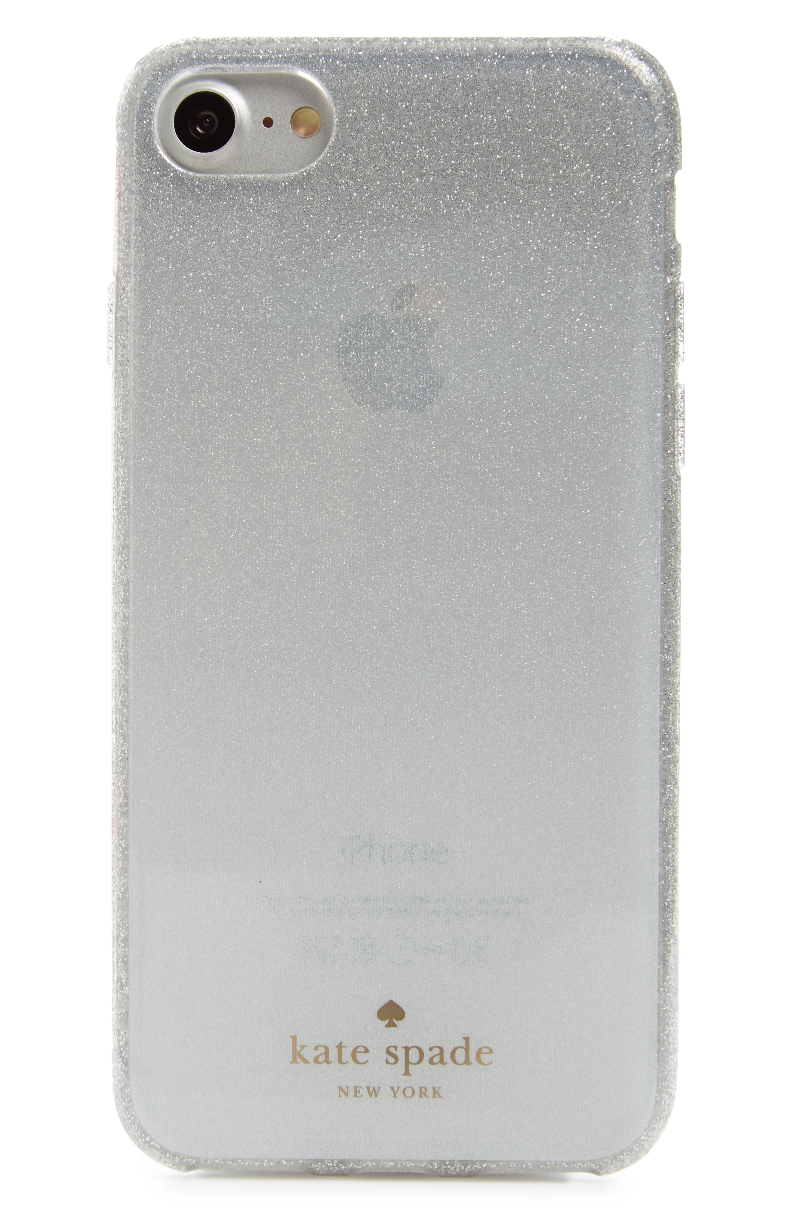 glitter ombré iPhone X case,                         Main,                         color, White