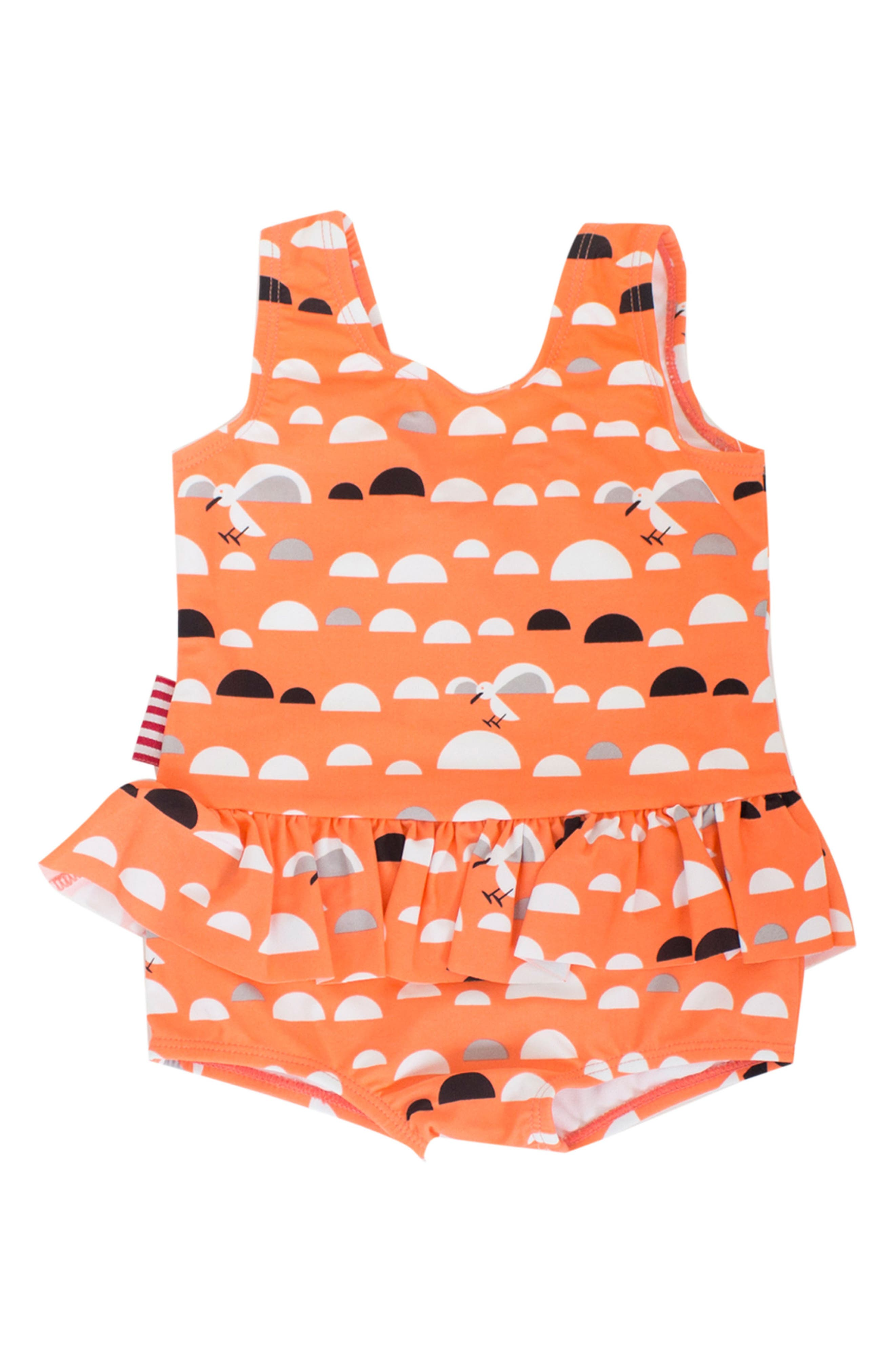 Main Image - SOOKIbaby Little Miss C.Gull Skirted One-Piece Swimsuit (Baby Girls)