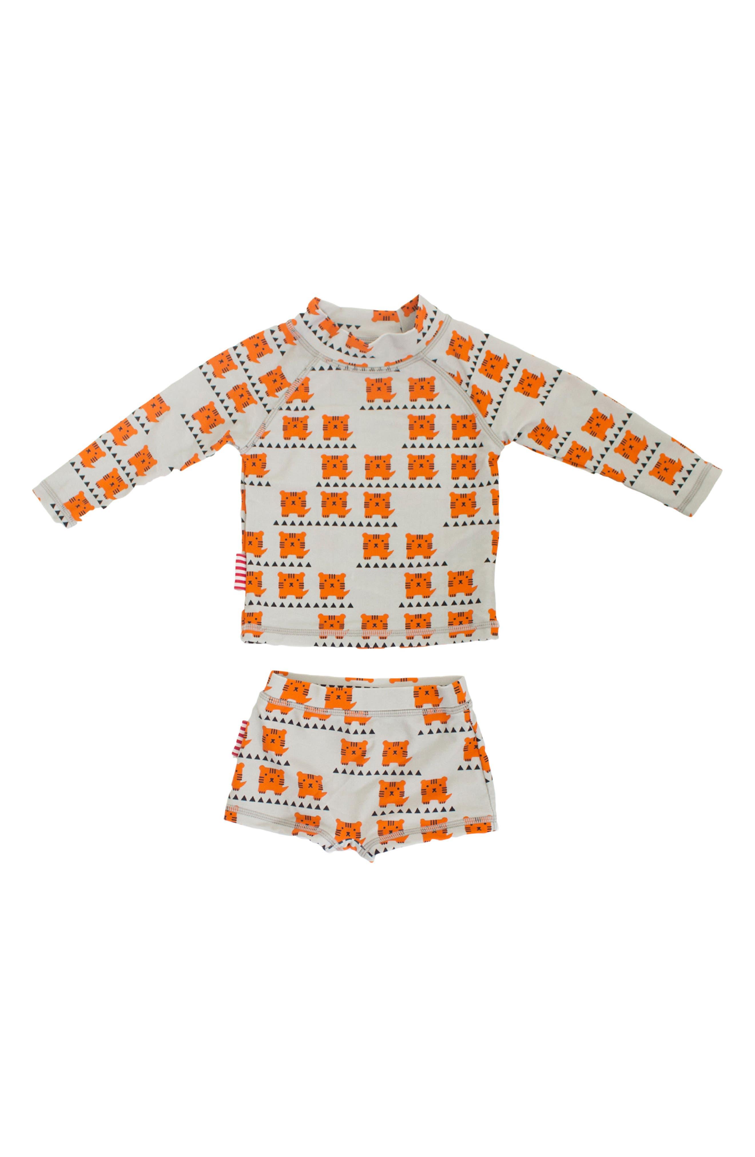 Cub In The Hub Two-Piece Rashguard Swimsuit,                         Main,                         color, Orange/ Grey
